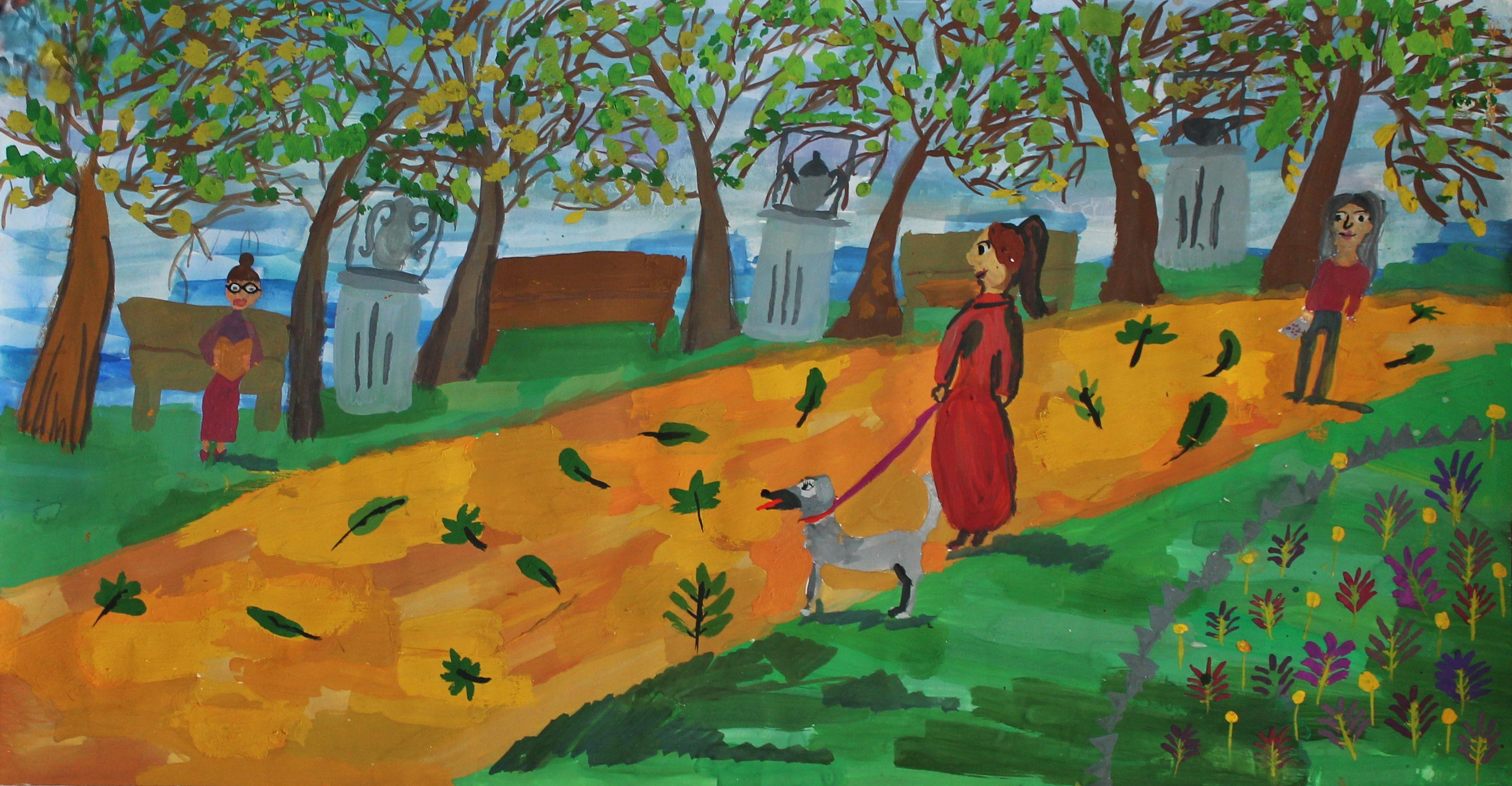 """Хлебосолова Кристина. 9 лет. """"Прогулка"""", гуашь. Преподаватель Н. В. Малевинская"""