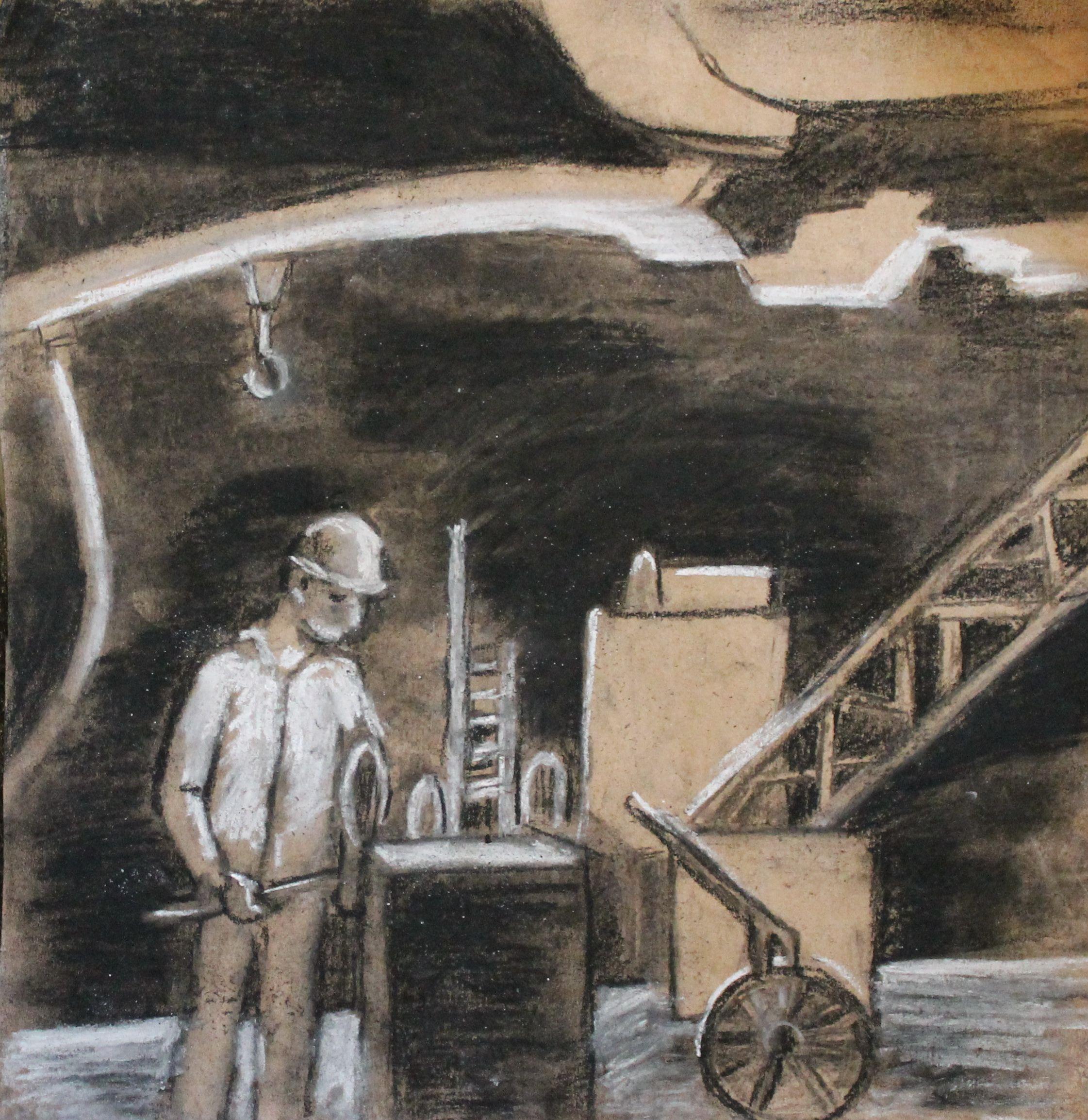 Березина Мария. 10 лет. Индустриальная тема. «Судостроительно- судоремонтный завод», соус, пастель