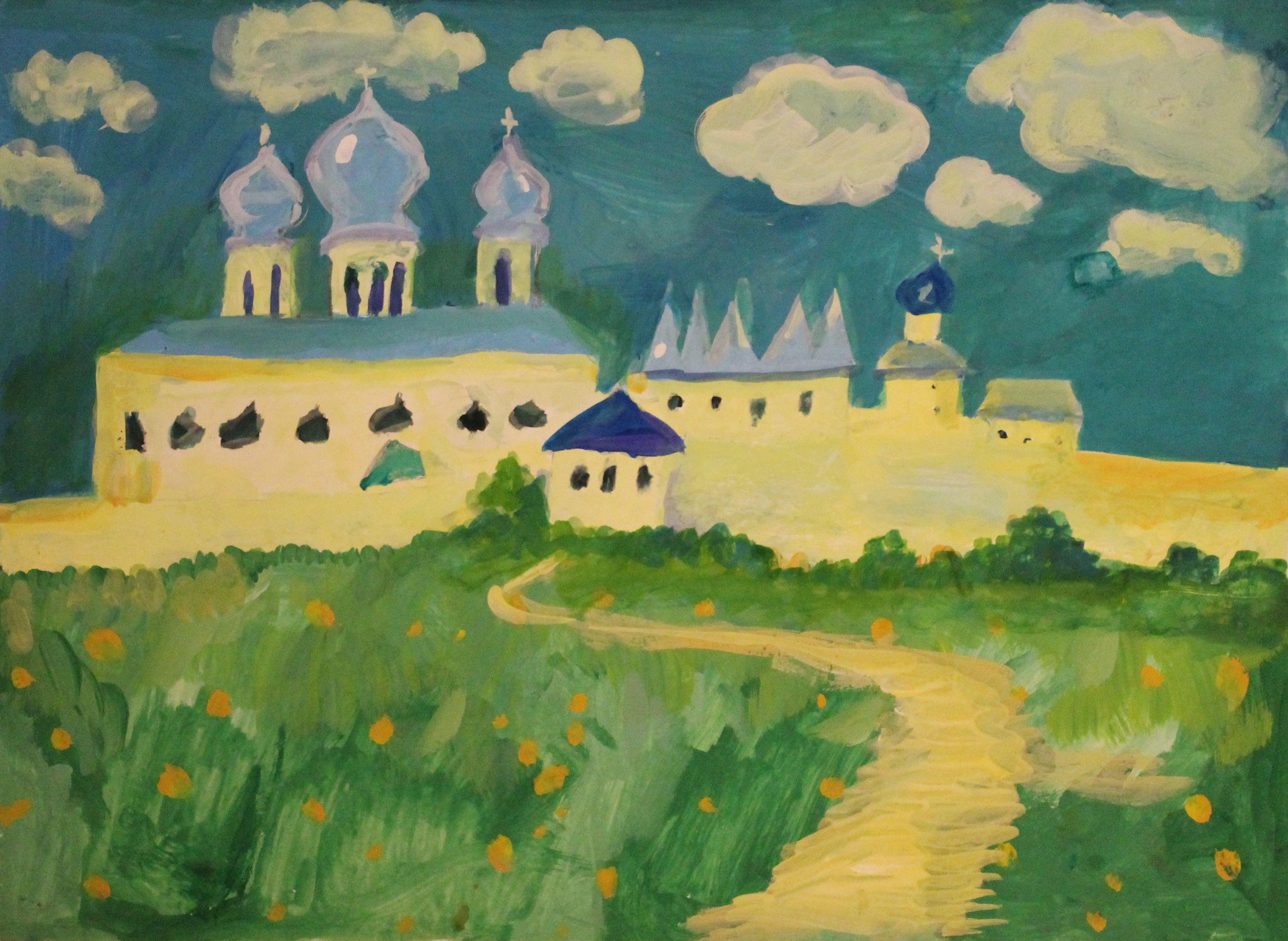 «Тихвинский монастырь», Белоусова Ульяна (8 лет),  гуашь, преп. Малевинская Н. В.