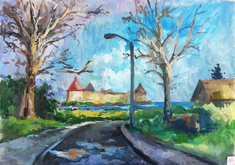 «Улица Жука», Гаврилова Анна (14 лет), гуашь, преп. В. А. Саржин