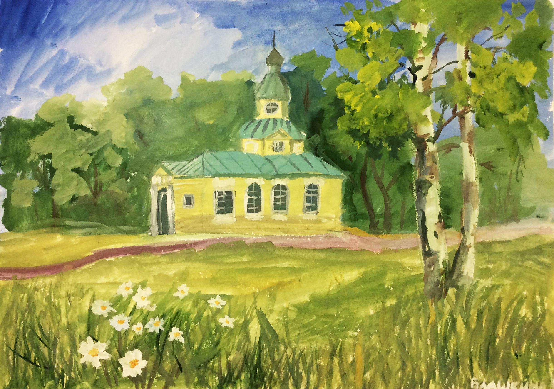 «Двор Тихвинского монастыря», Горюнова Дарья (11 лет), гуашь, преп. О. Д. Гоголева