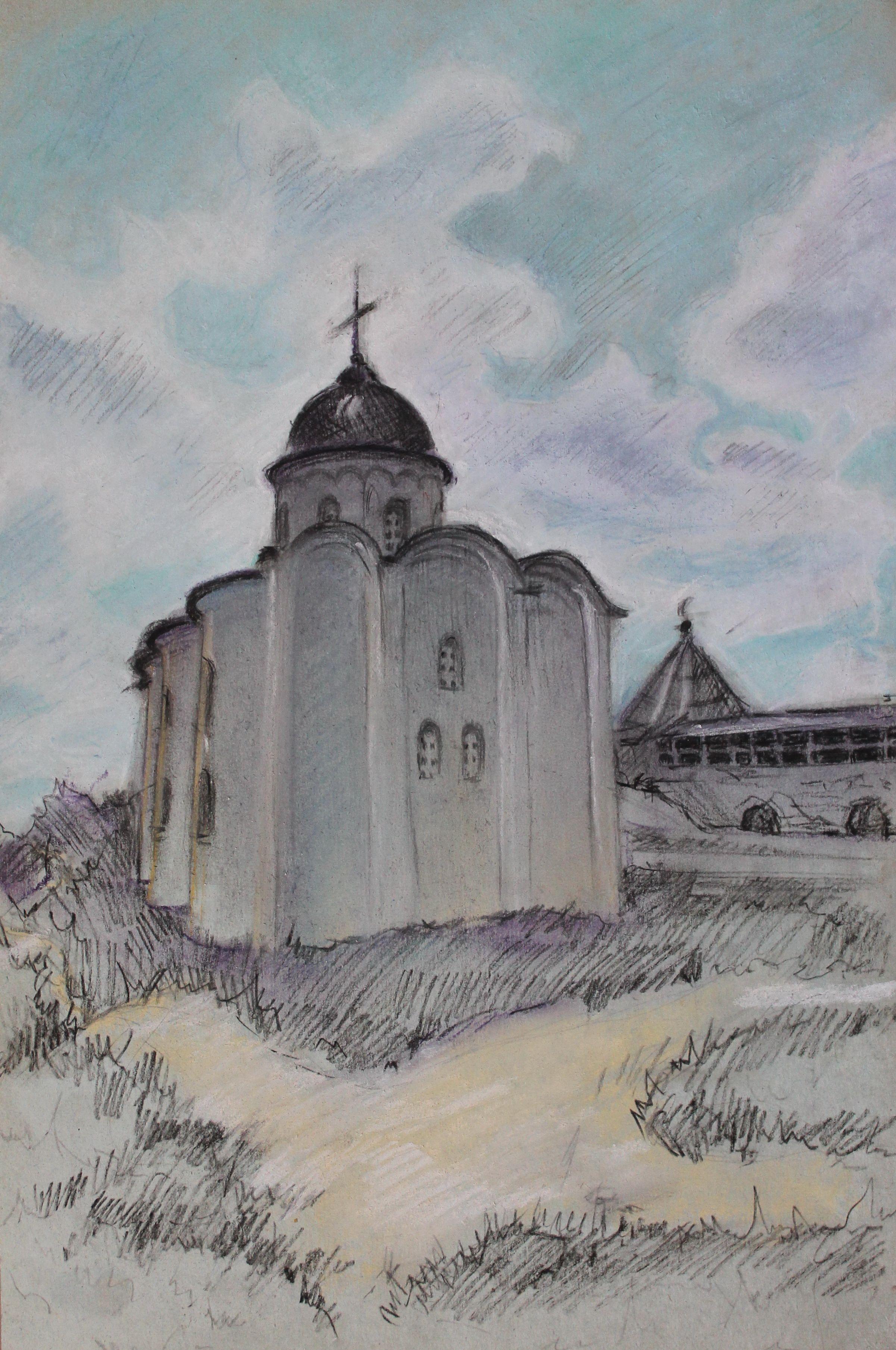 """""""Церковь Св. Георгия"""", Гурова Валерия (13 лет), пастель, уголь"""
