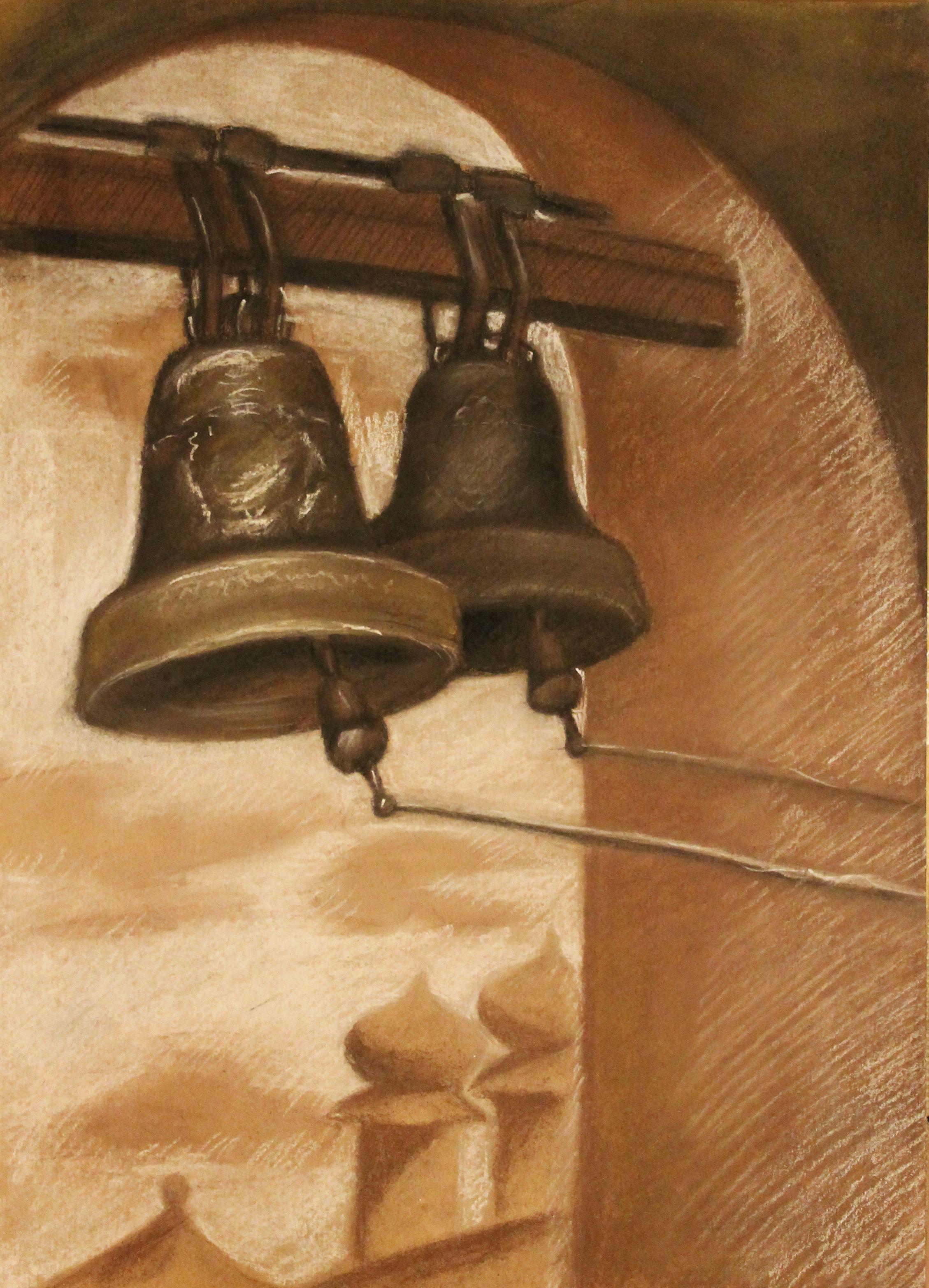 «Тихвинский монастырь. Звонница», уголь, Гурова Валерия (15 лет), соус, преп. Малевинская Н. В.