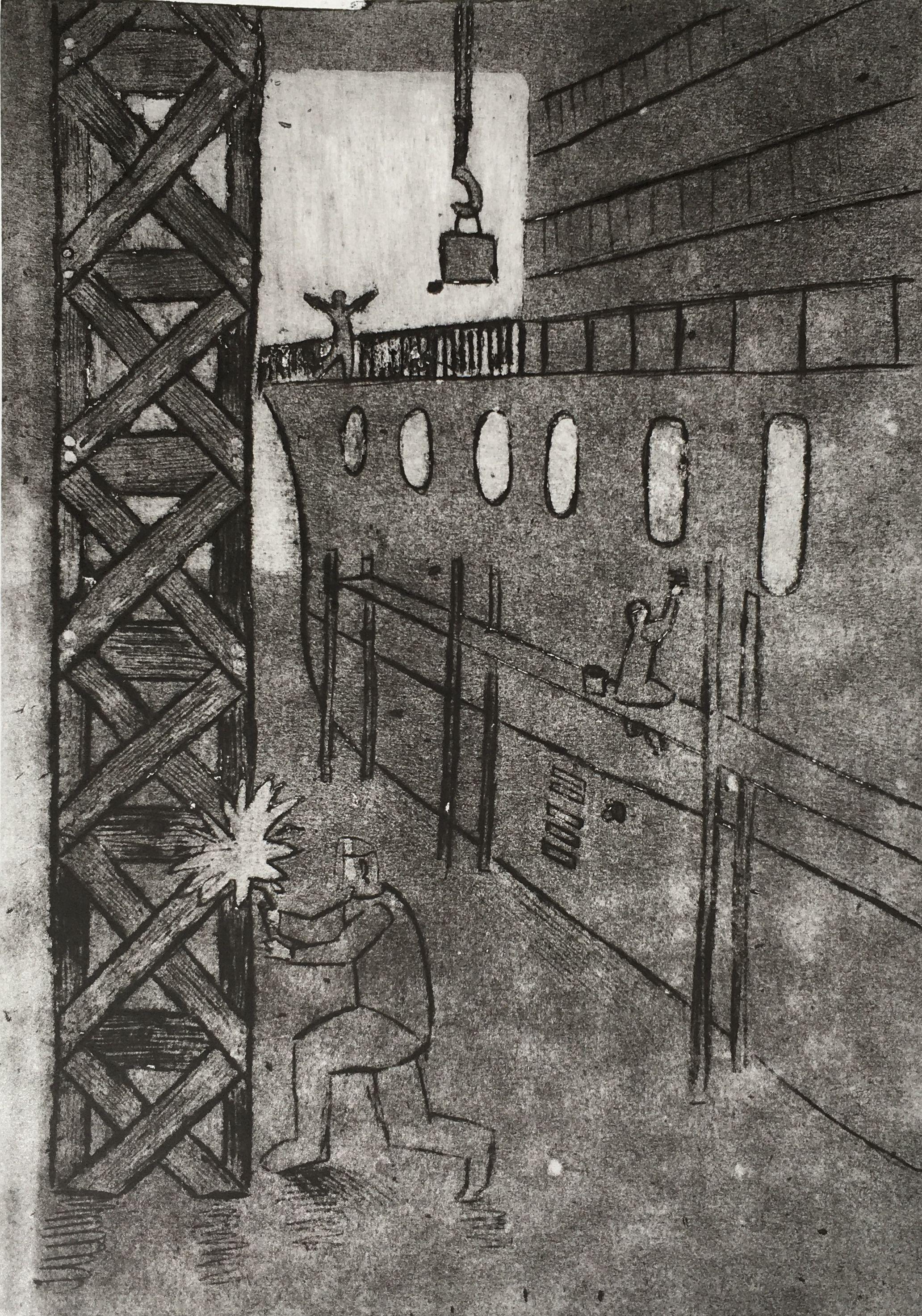 Борзов Влад. 14 лет. «Сварщик», гравюра на картоне. Преподаватель [В. В. Воронова](/teacher/vv-voronova)