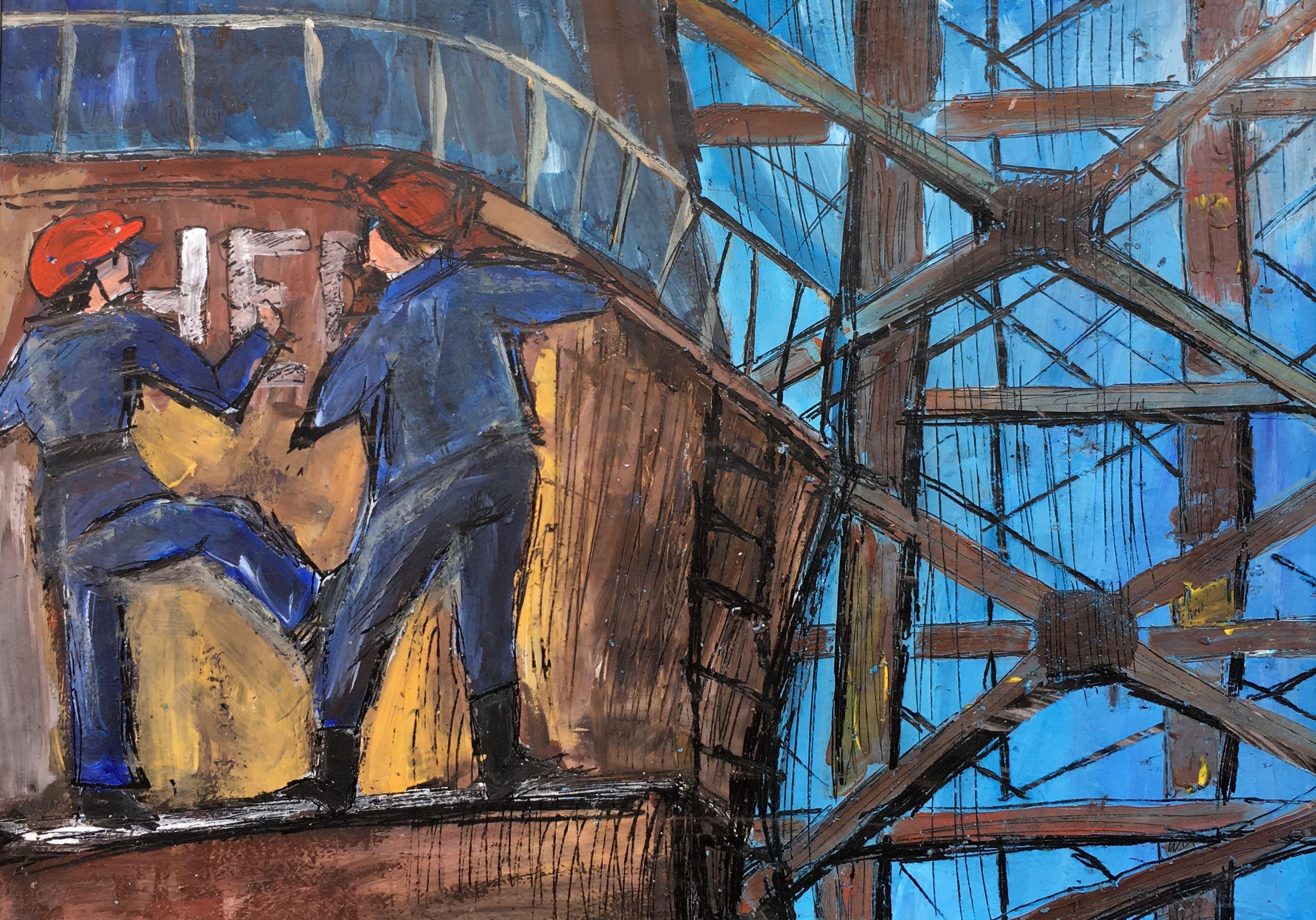 Федорова Елизавета. 13 лет. «Ремонт судна», воскография. Преподаватель [О. Д. Гоголева](/teacher/od-gogoleva)