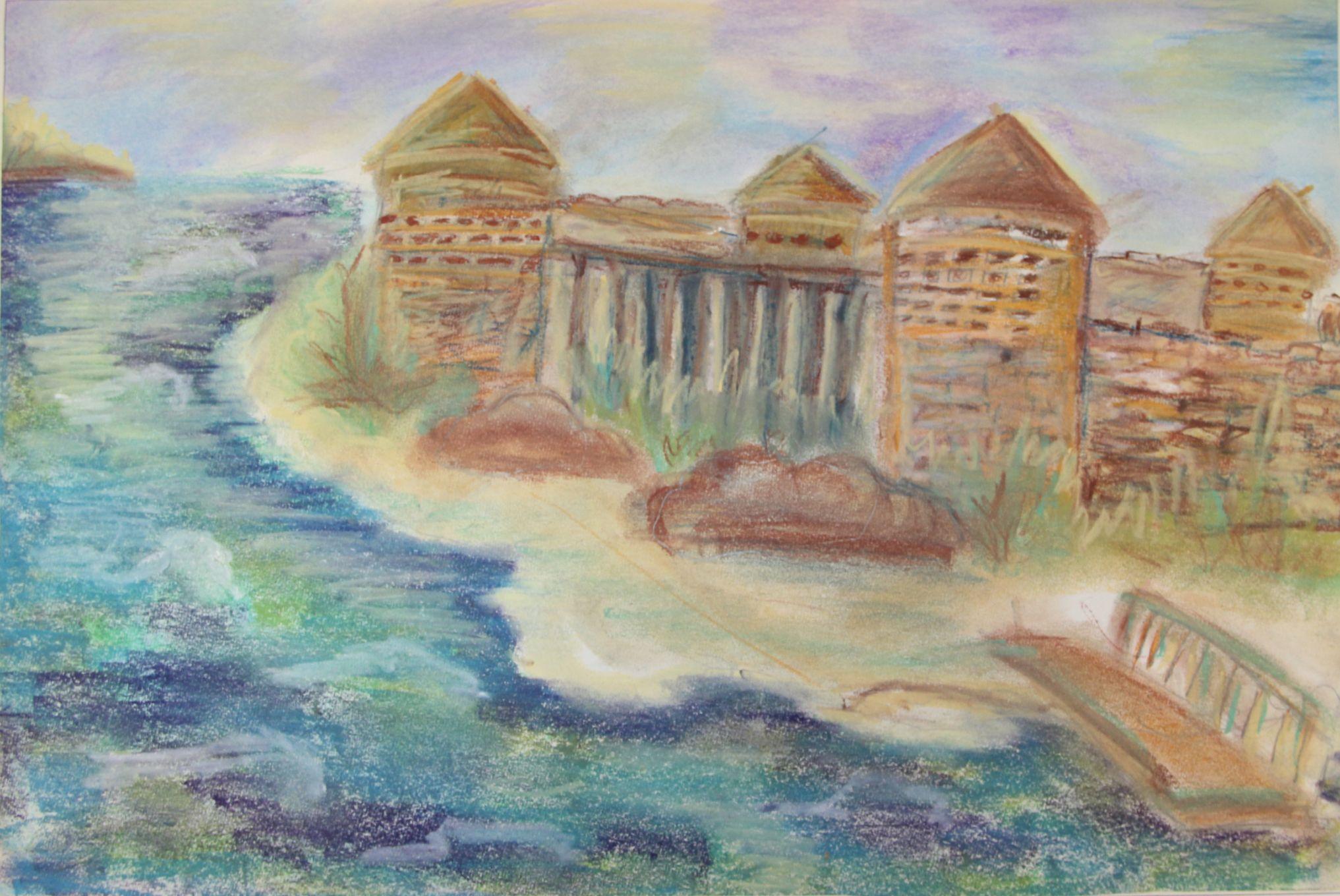 """""""Крепость"""", Яков Ясенев (10 лет), пастель, преп. Ясенева И. А."""