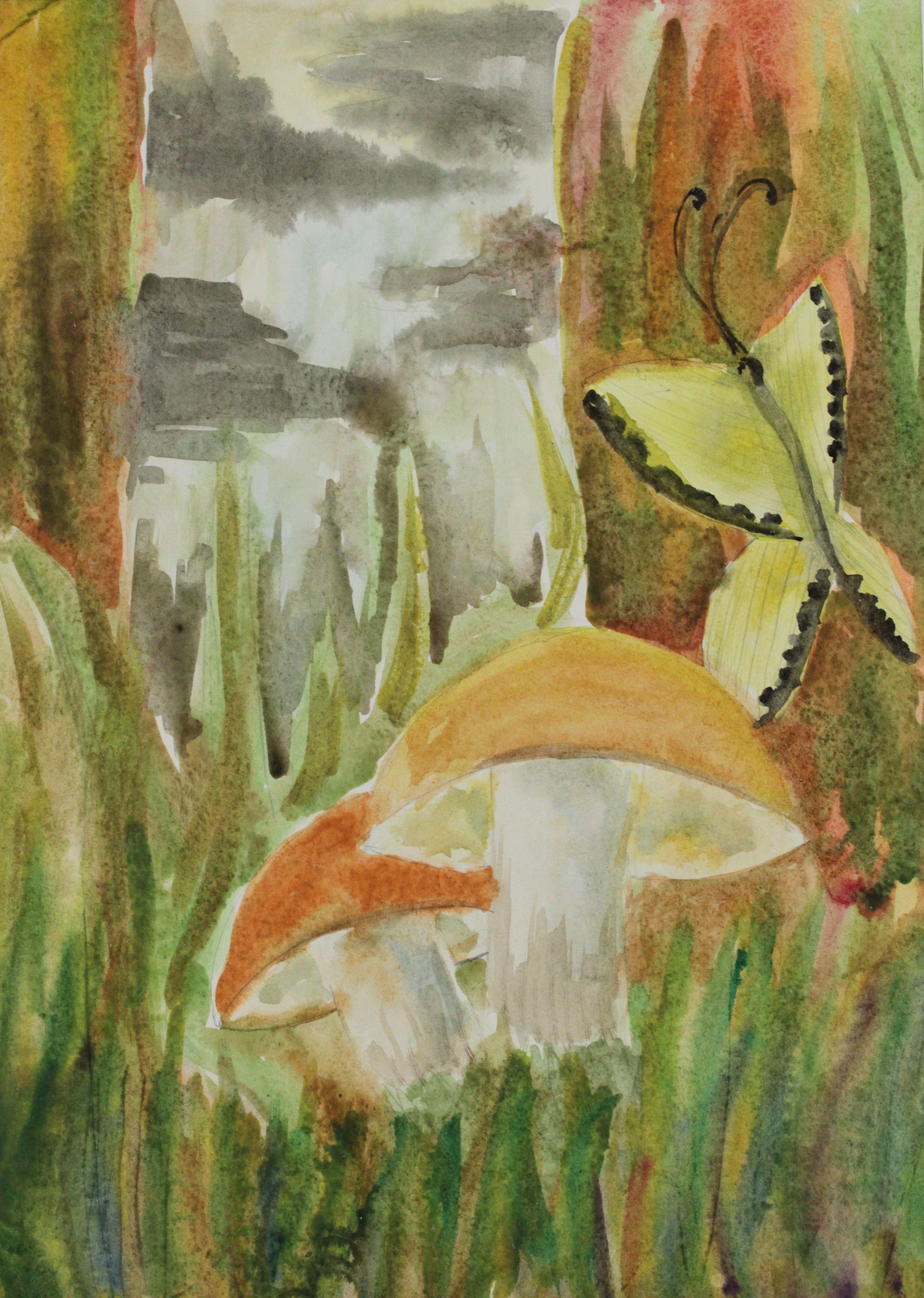 """""""Волшебный лес"""", Власова Анастасия (10 лет), акварель. Преп. Ясенева И. А."""