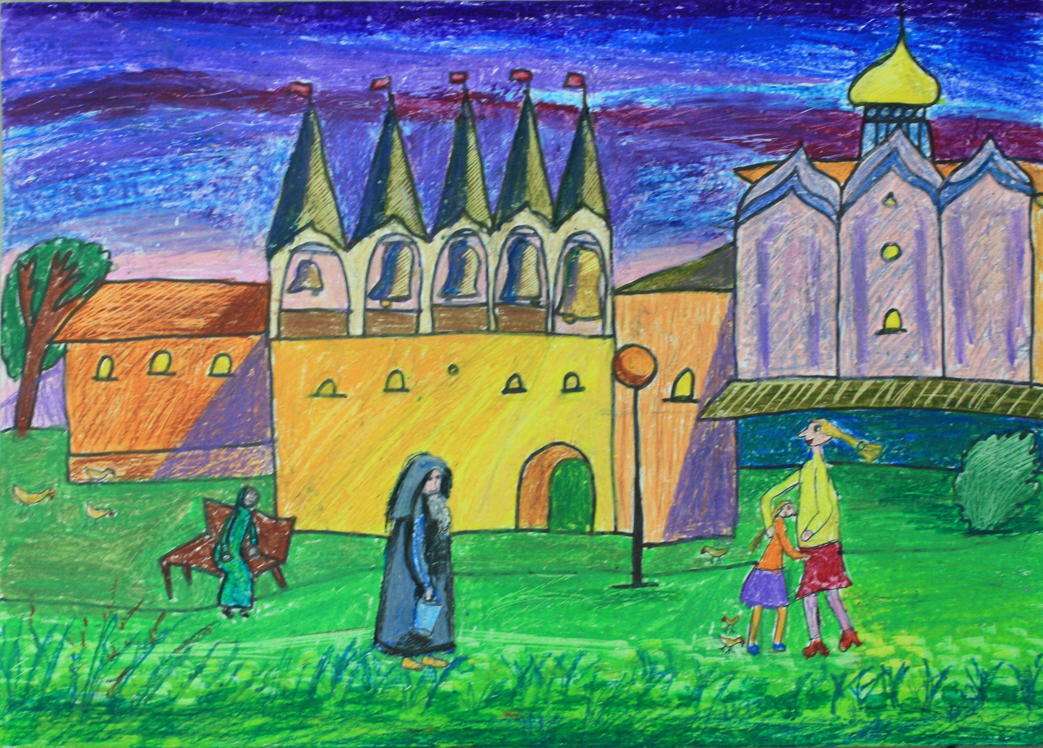 """""""На монастырском дворе"""", Ковалик Лиза (10 лет), преп. Глок Н. И."""