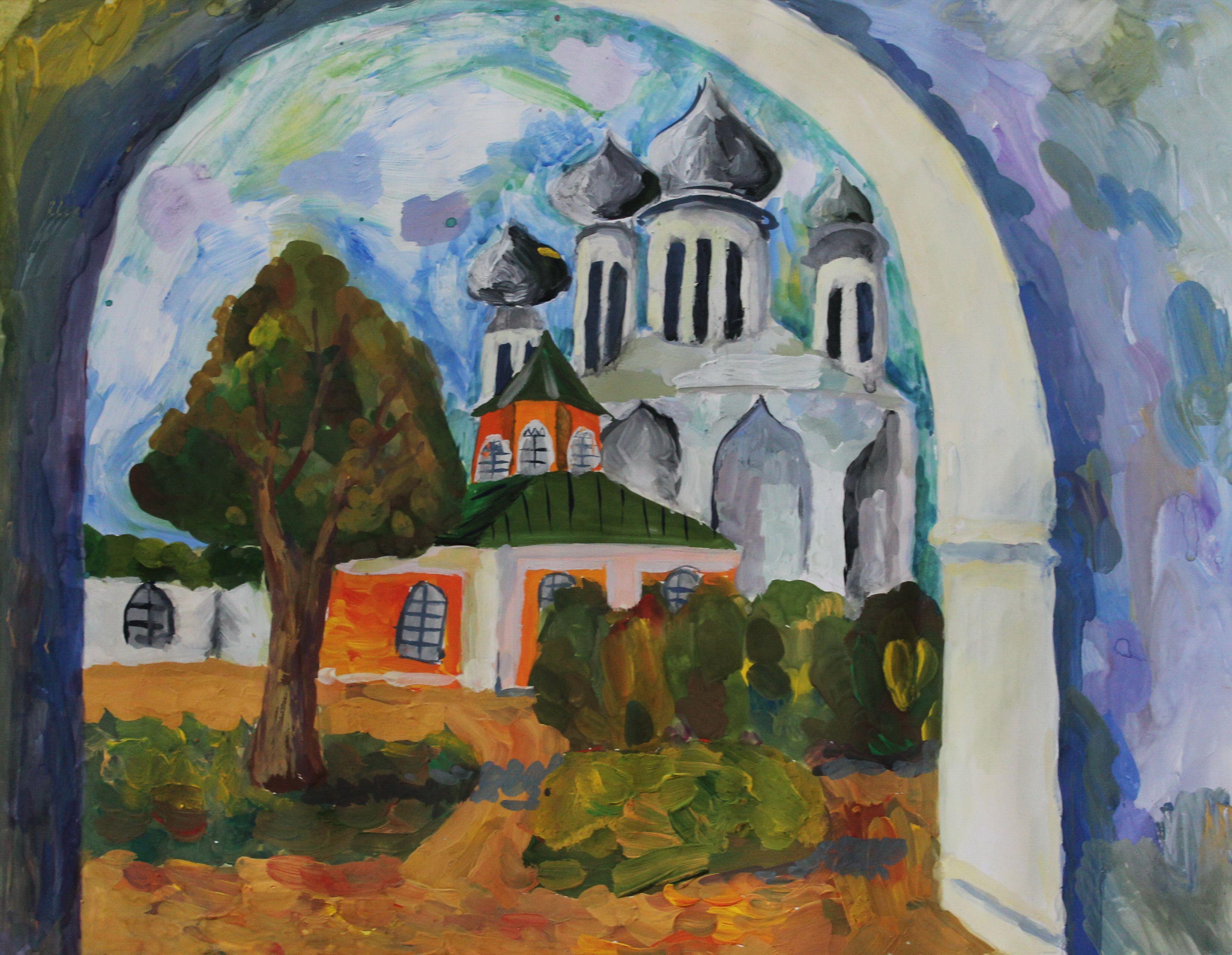 «Тихвинский монастырь», Крылова Татьяна (12 лет), гуашь, преп. Малевинская Н. В.