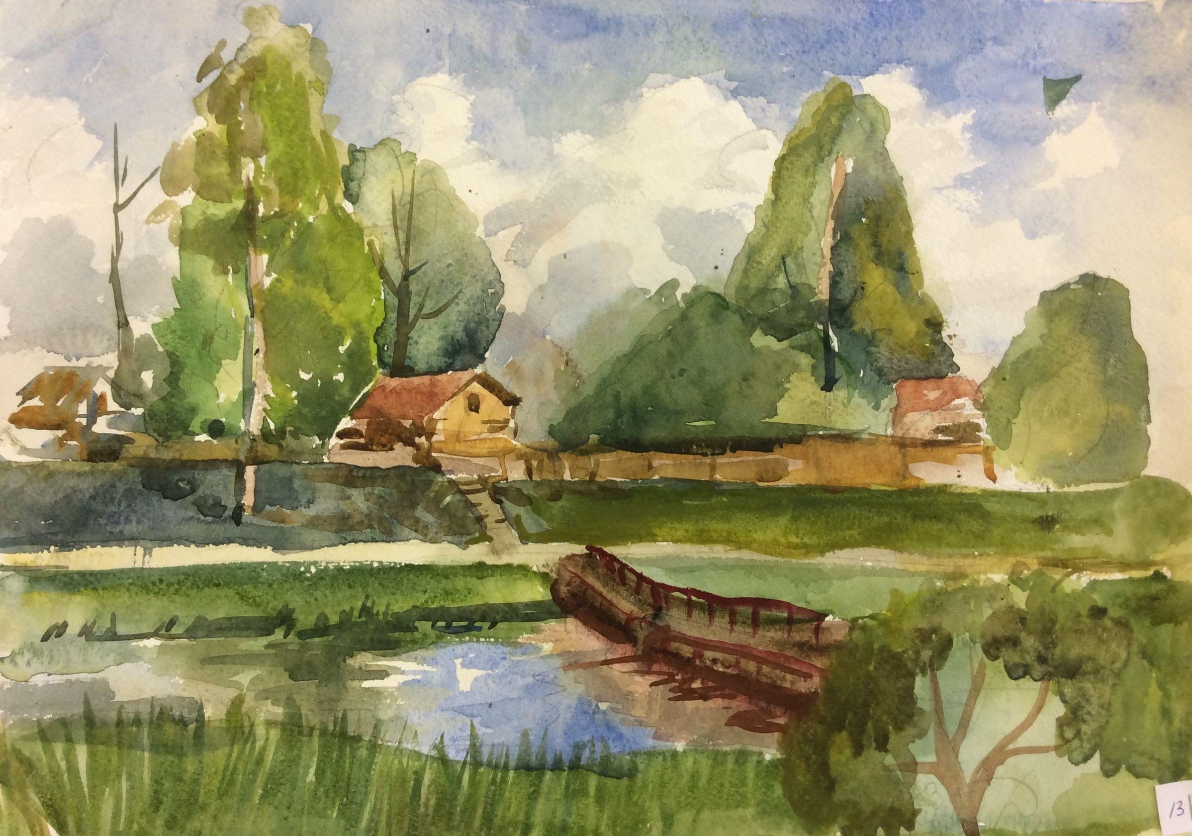 «Мост через канал», Кулиш Дарья (13 лет), акварель, преп. В. А. Саржин