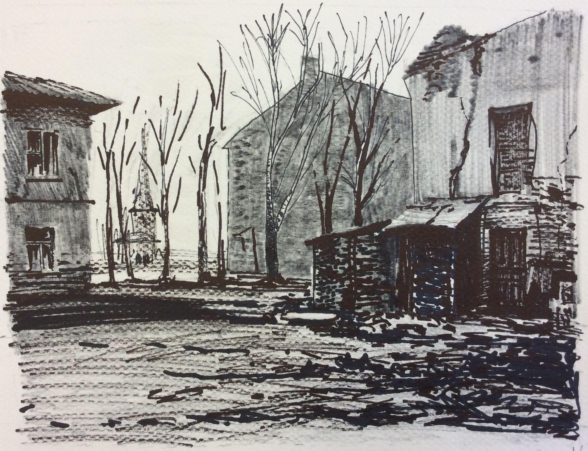 «Уютный дворик», Кузихина Таня (12 лет), маркер, преп. Е. Ю. Тарасова