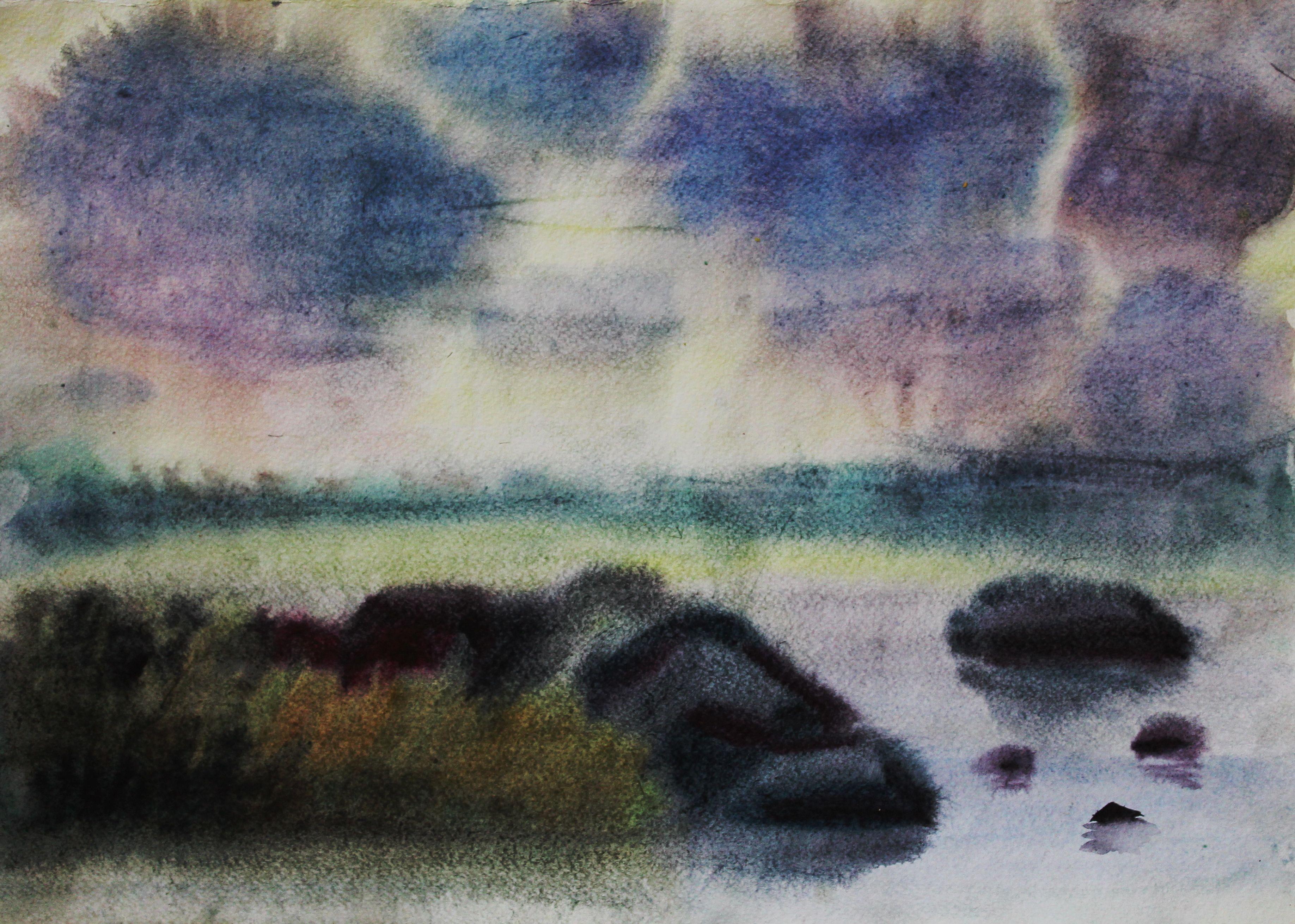 «Финский залив», Лебедева Екатерина (7 лет)  акварель, преп. Малевинская Н. В.