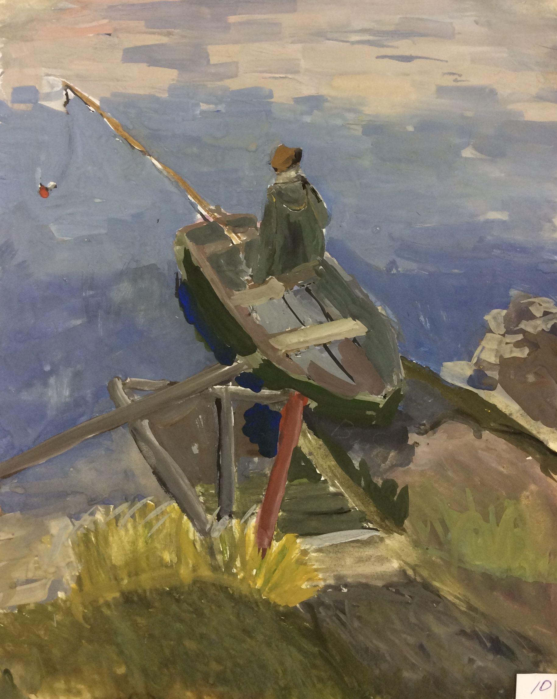 «Рыбак»,Лисенков Женя (13 лет), гуашь, преп. В. А. Саржин