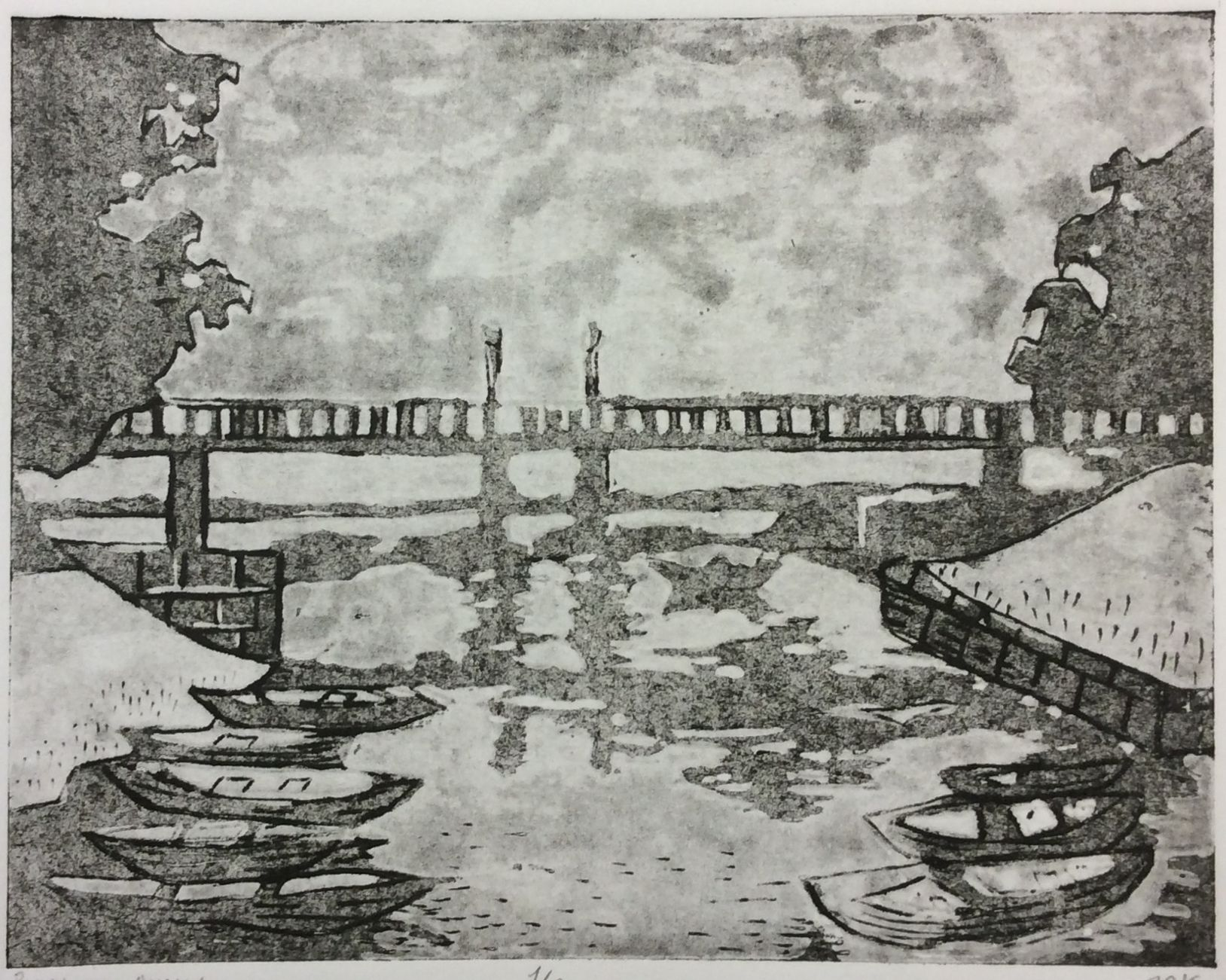 «Лодочки на канале», Внукова Диана (13 лет), гравюра на картоне, преп. Воронова В. В.