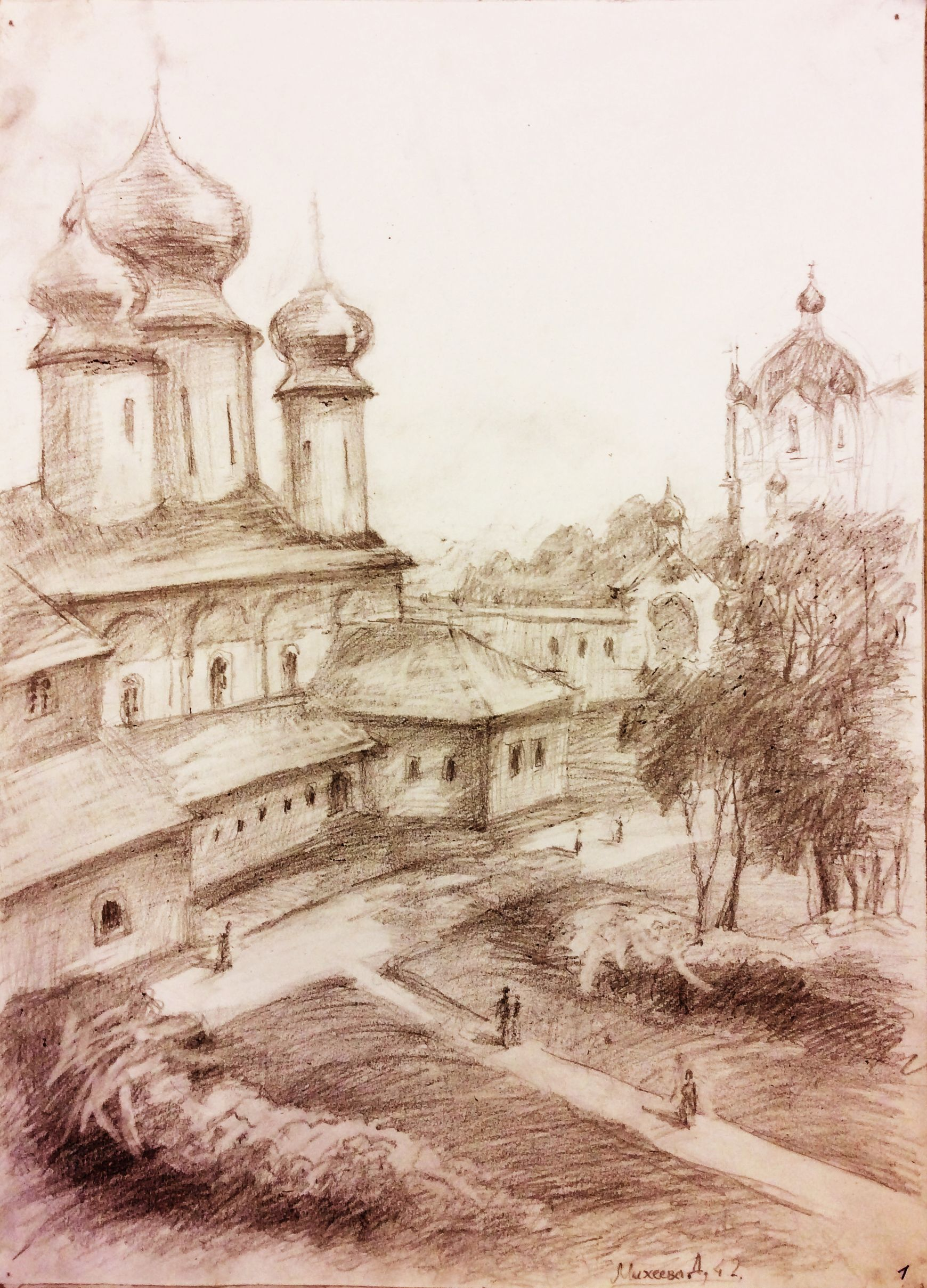 «Монастырский двор», Михеева Дарья (13 лет), карандаш, преп. С. А. Латыпова
