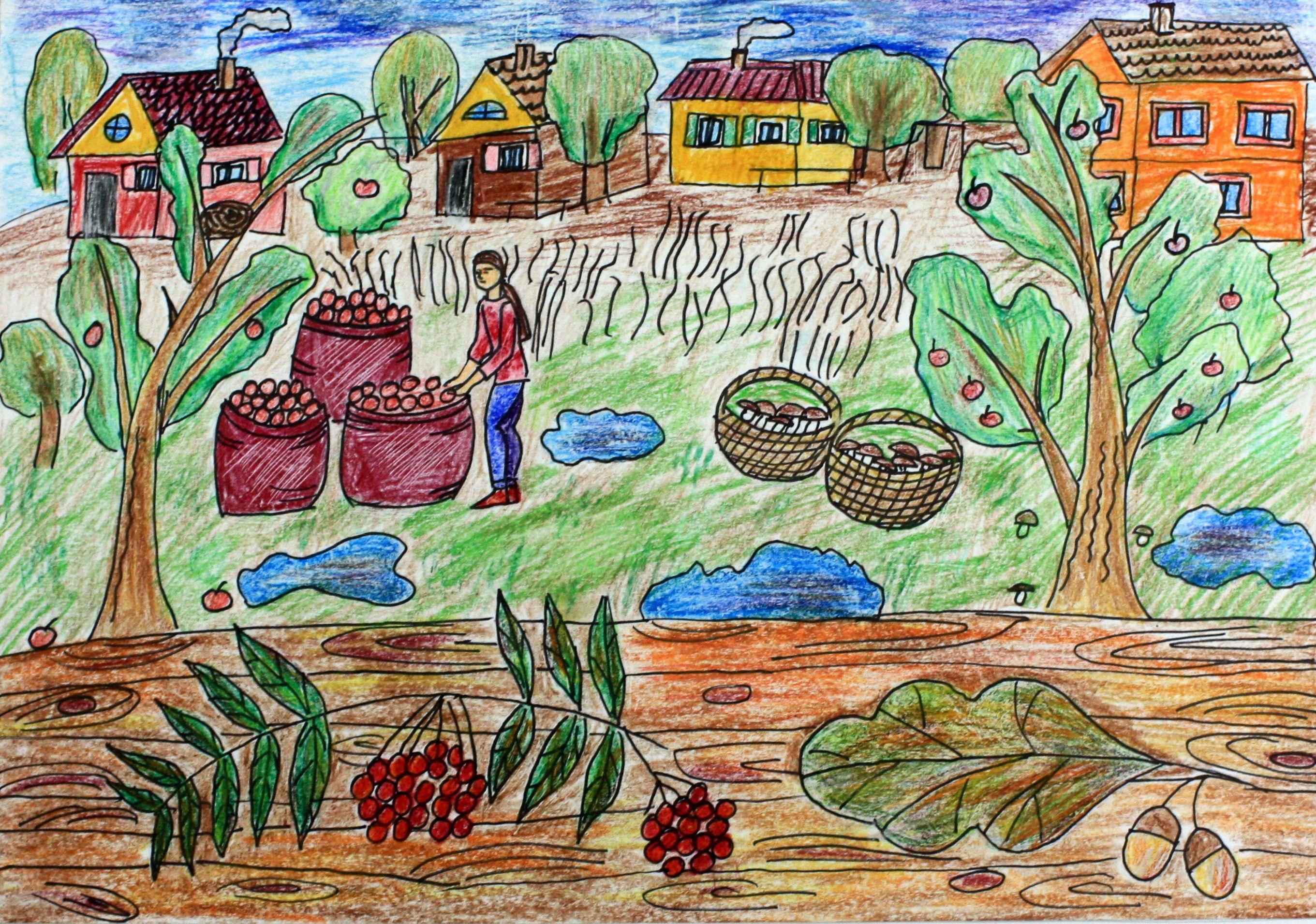 """""""Осенний урожай"""", Мошкина Полина (10 лет), цветные карандаши, маркер. Преп. Рец А. Ф."""