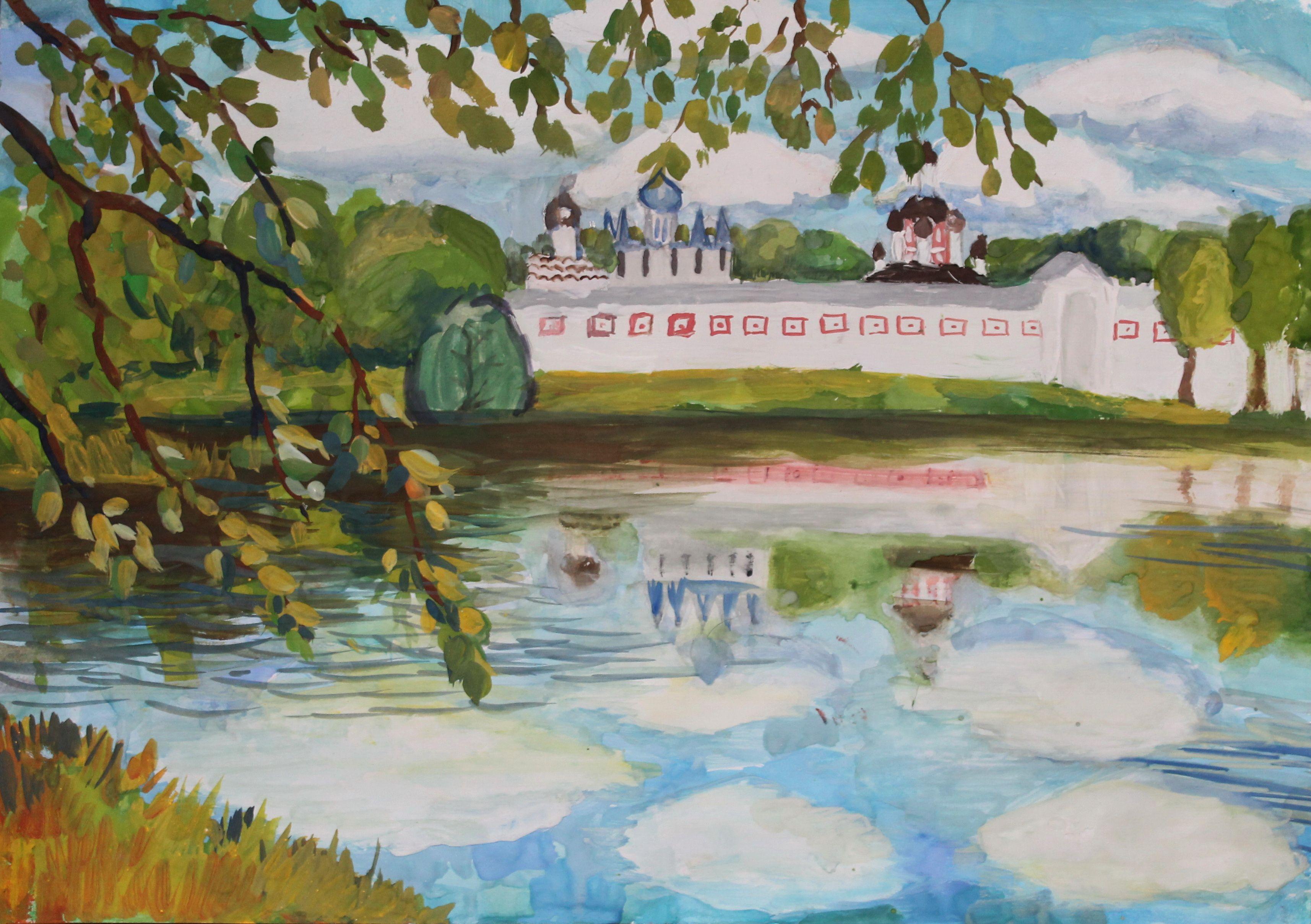 «Тихвинский монастырь», Никитенко Анастасия (10 лет), гуашь, преп. Малевинская Н. В.