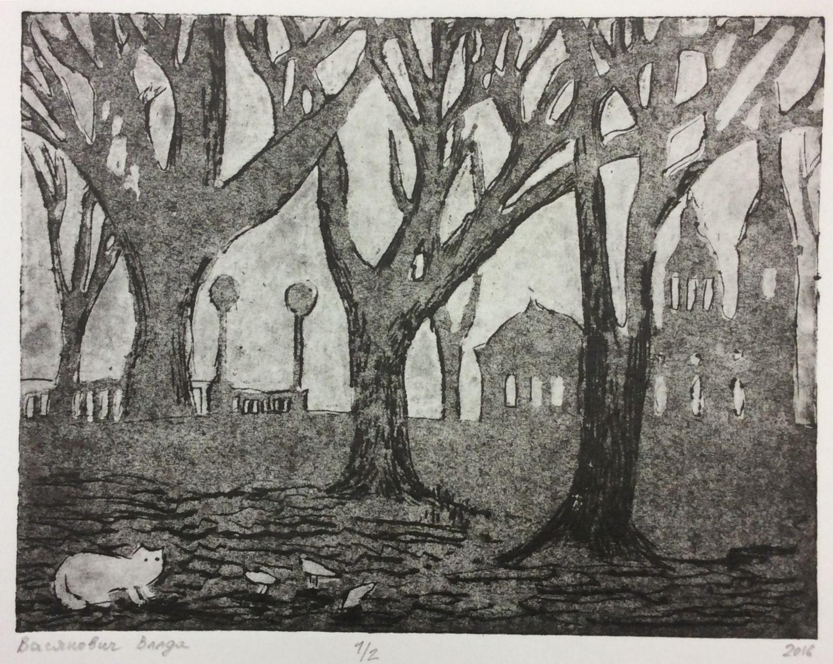 «Осень вгороде», Васянович Влада (13 лет), гравюра на картоне, преп. Воронова В. В.