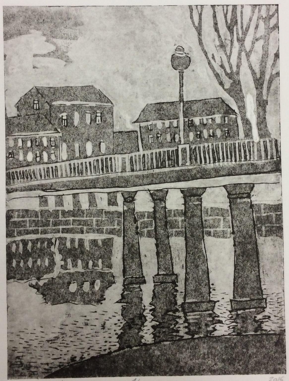 «Отражение», Гаврилова Лиза (13 лет), гравюра на картоне, преп. Воронова В. В
