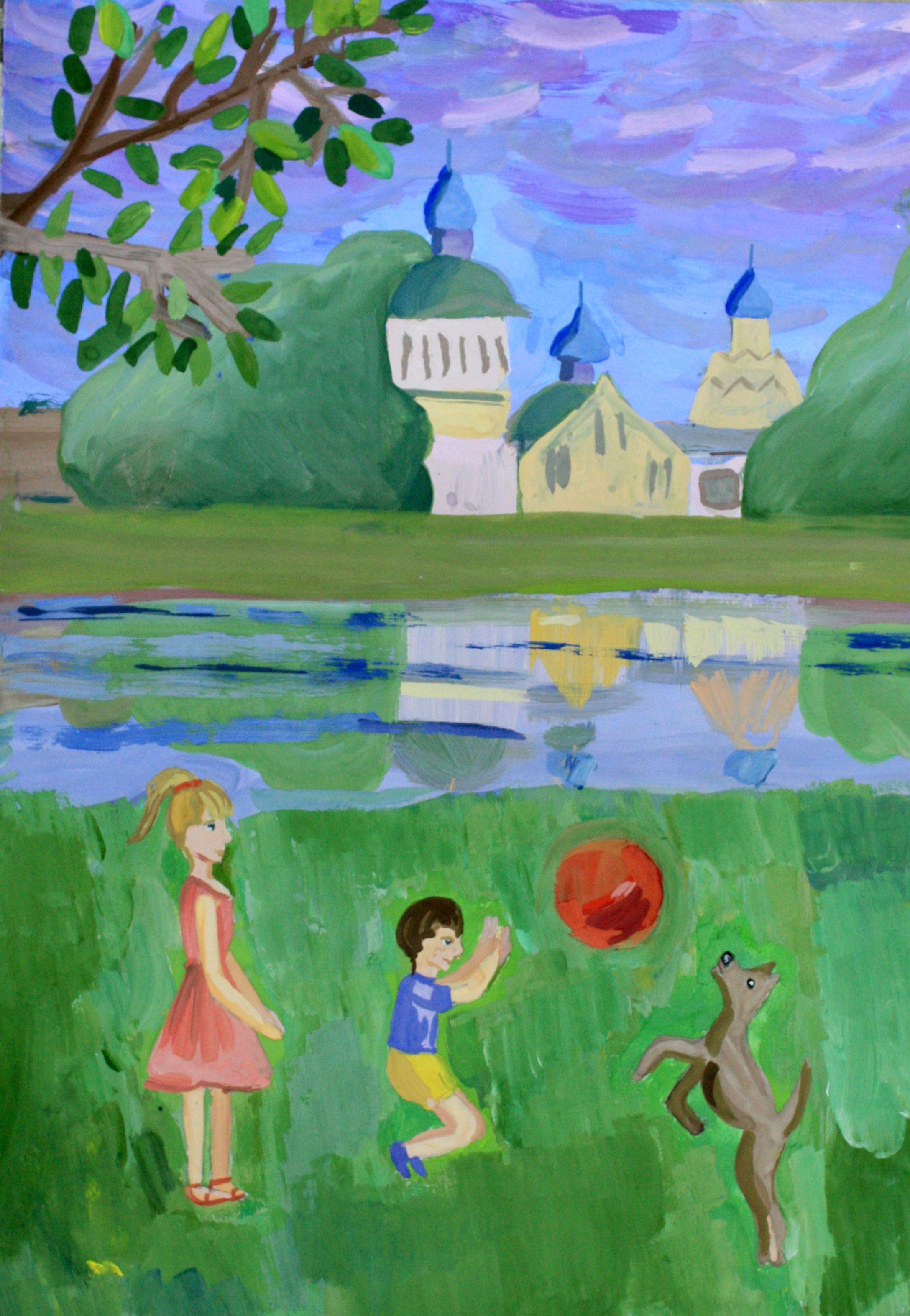 """""""У стен монастыря"""", Петрова Арина (10 лет), преп. Глок Н. И."""