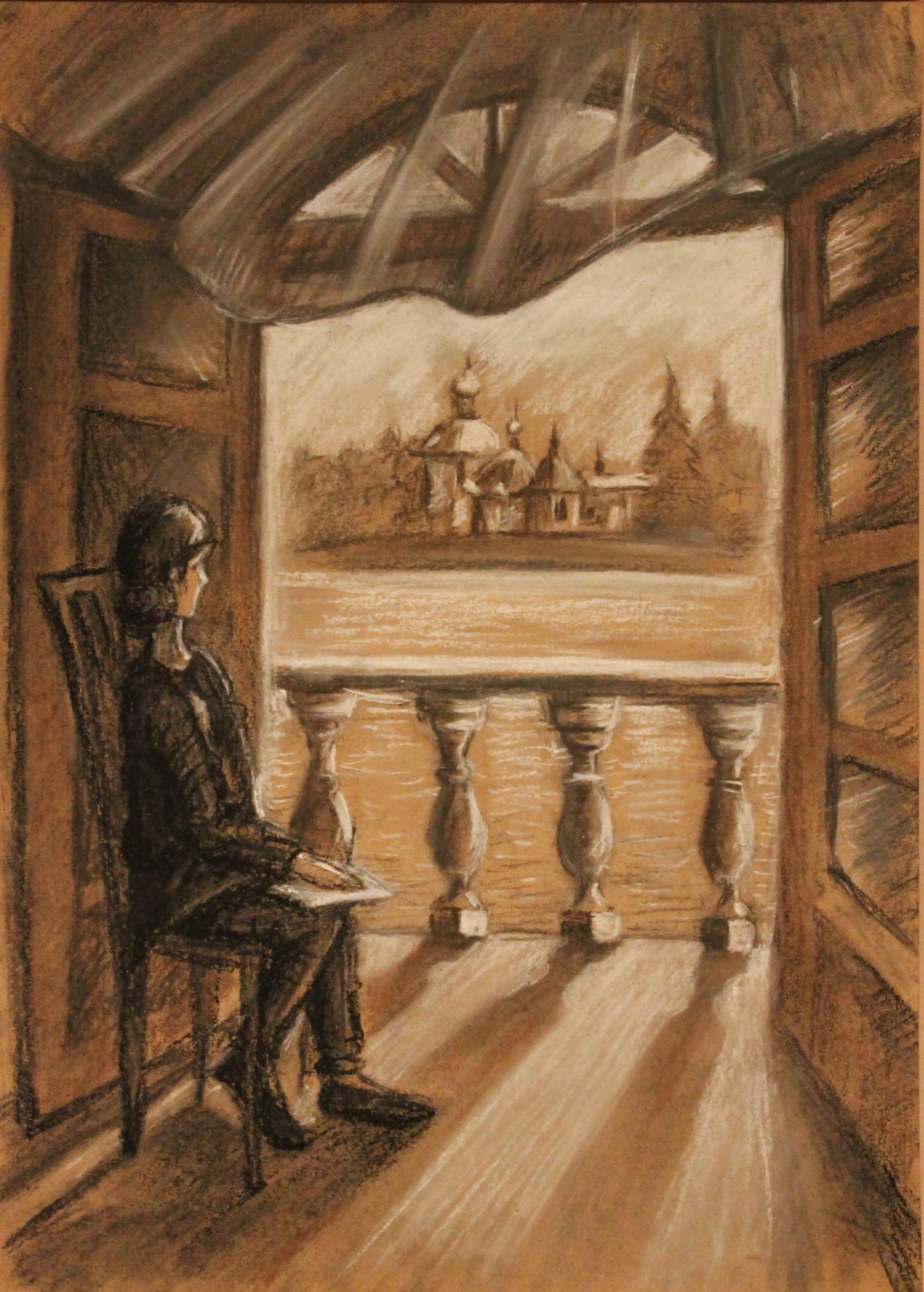 «Вид на Тихвинский монастырь», Руденко Ирина (14 лет),  уголь, соус, преп. Малевинская Н. В.