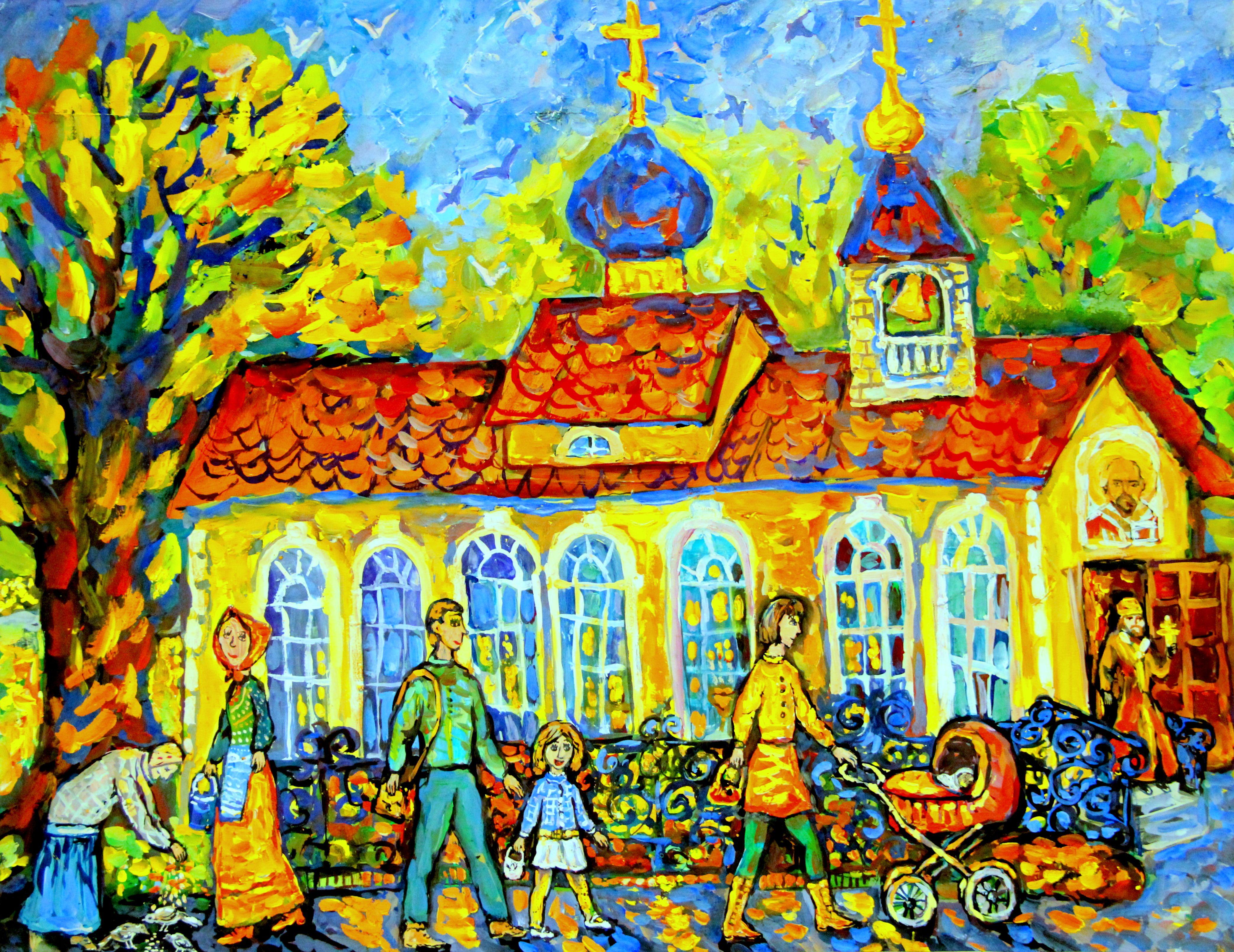 """""""Церковь Николая Чудотворца во Мге"""", Шестакова Лана (8 лет)"""