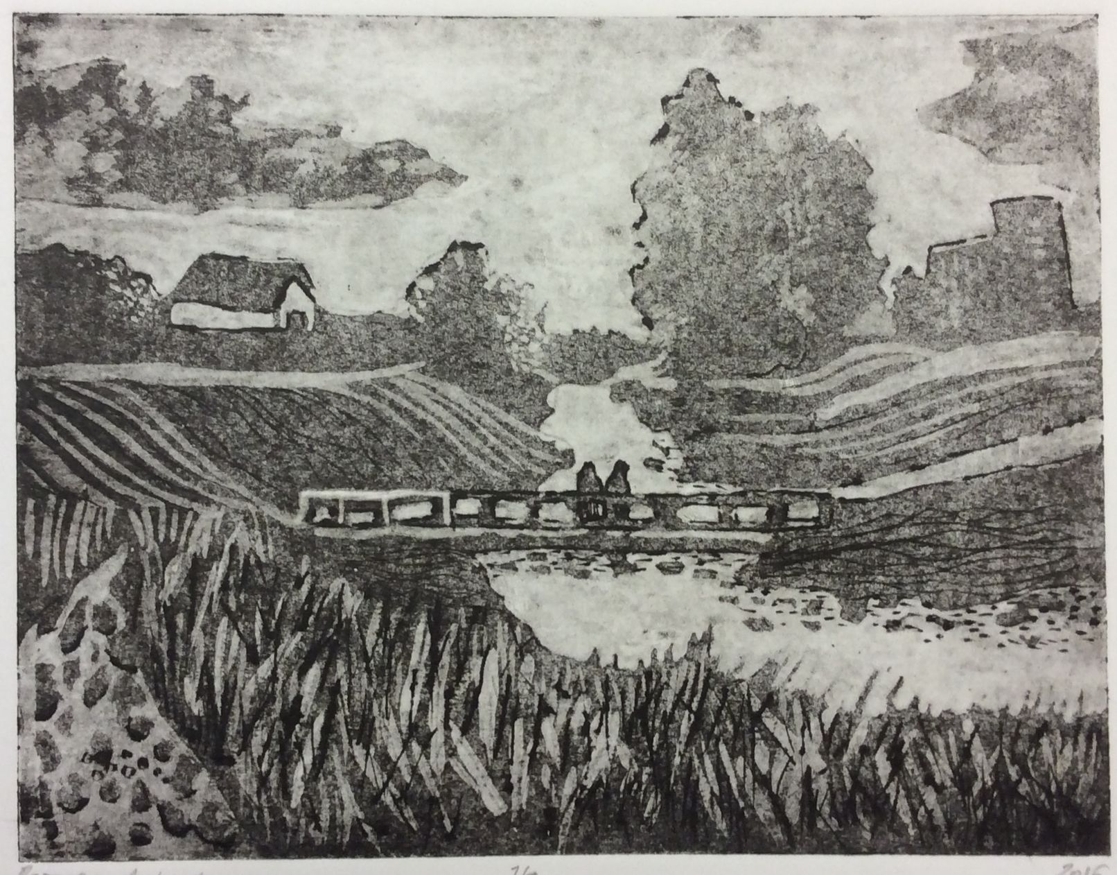 «Шлиссельбуржский мостик», Петрова Анфиса (13 лет), гравюра на картоне, преп. Воронова В. В.