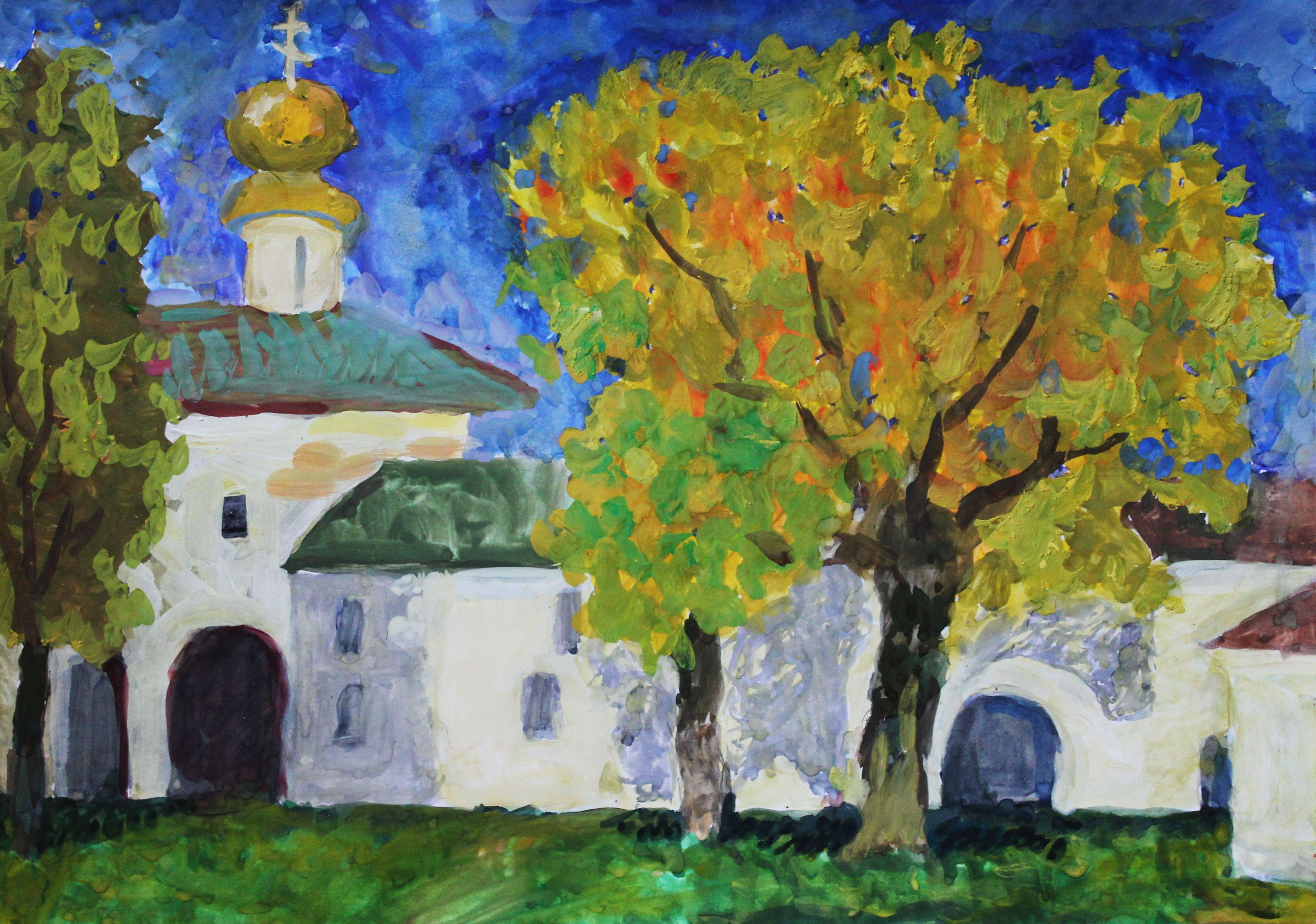 «Святые ворота с надвратной церковью Вознесения», Тарасов Антон (12 лет), гуашь, преп. Малевинская Н. В.