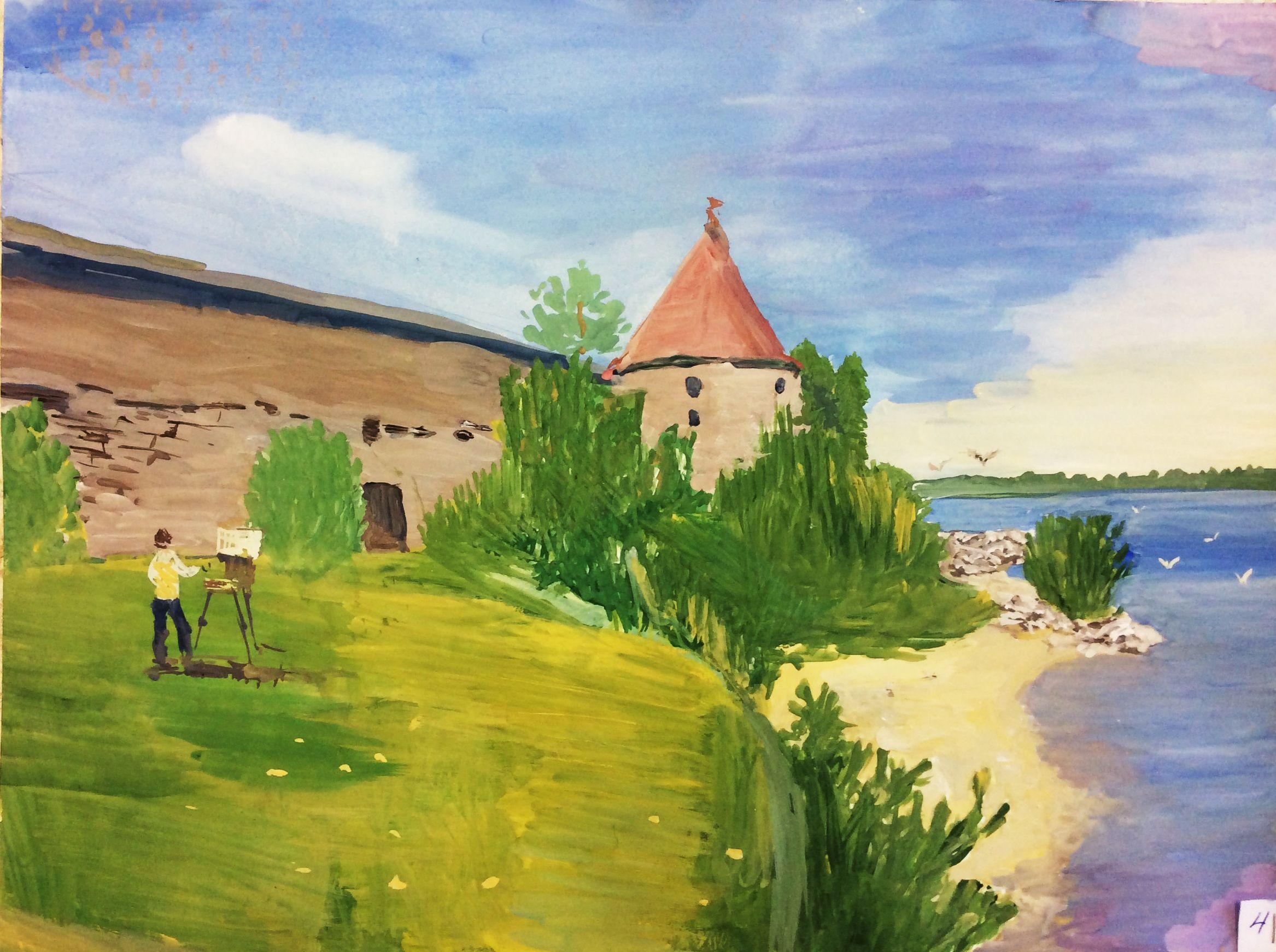 «Пленэр на Ореховом острове», Тарасова Лена (14 лет), гуашь, преп. В. А. Саржин
