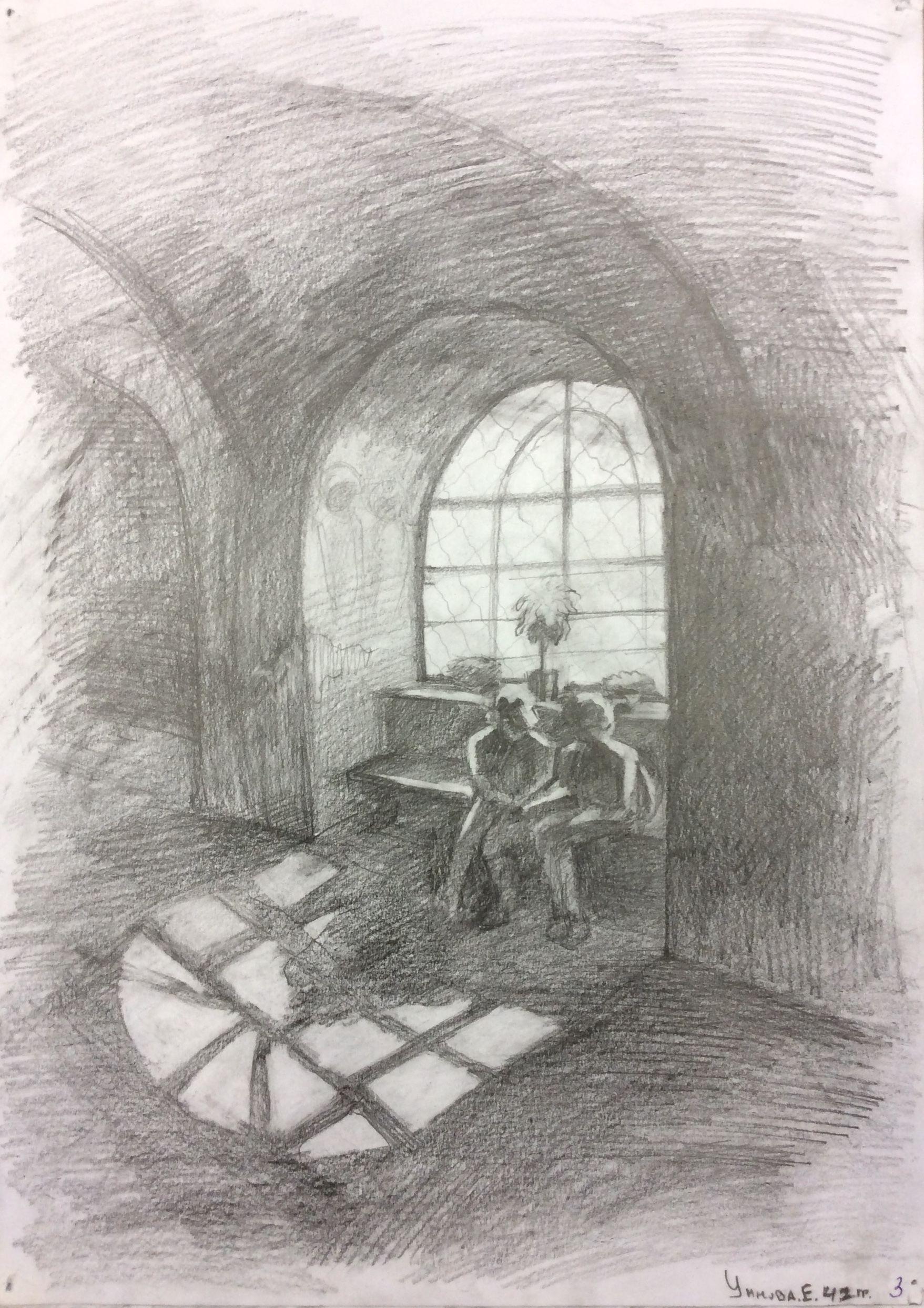 «Тихвин. Собор. После экскурсии», Умнова Екатерина (13 лет), карандаш, преп. С. А. Латыпова