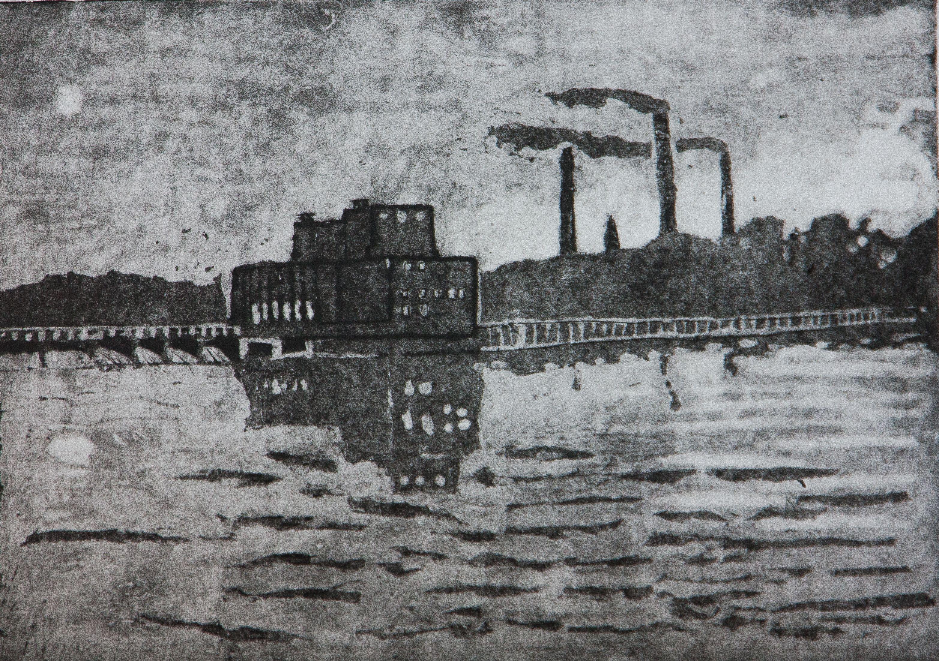 """""""Вечерняя ГЭС"""", Лисенков Евгений, гравюра на картоне, преп. Воронова В. В."""