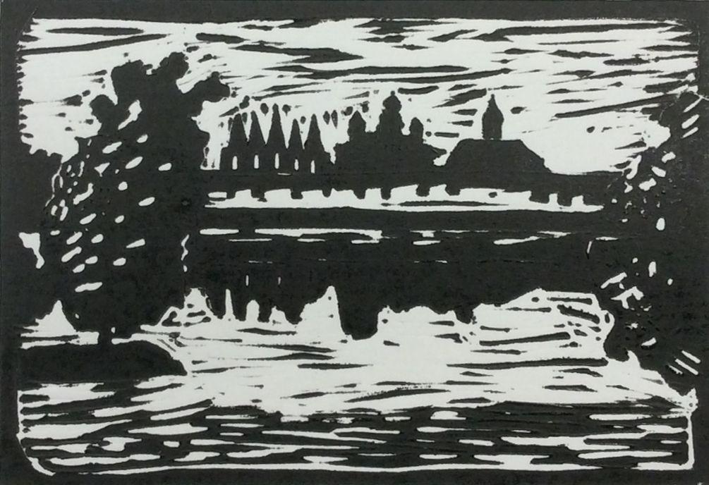 """""""Вид на монастырь с берега"""", Ксения Голубева (14 лет), литогравюра, преп. В. В. Воронова"""