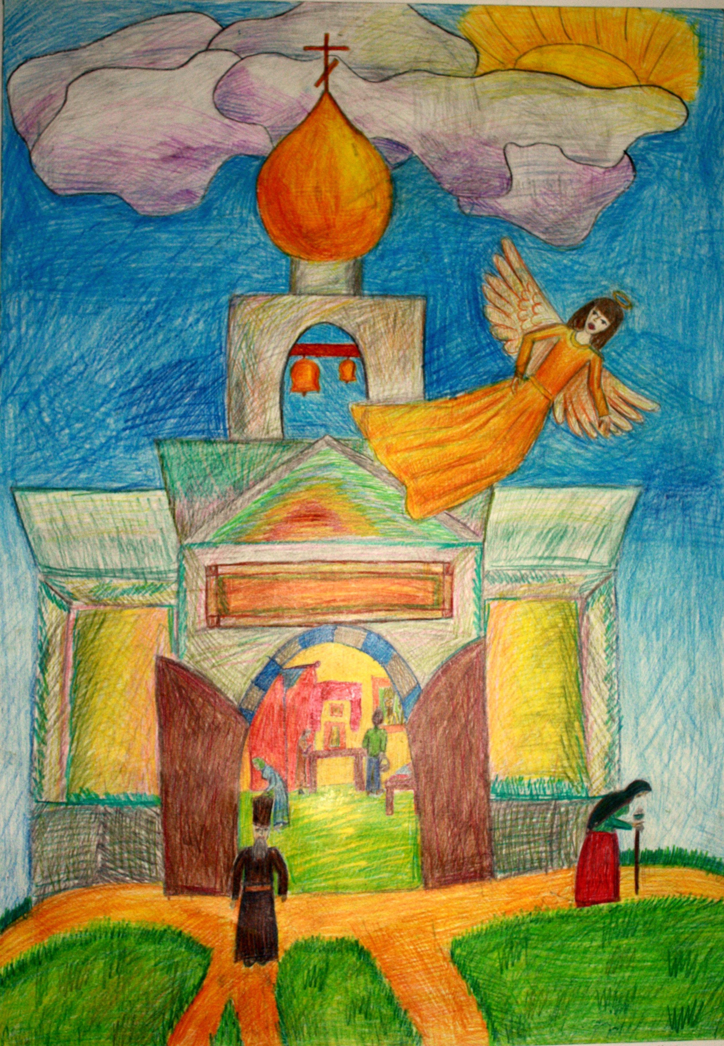 """""""Ангел Отрадного"""", Витрак Карина (12 лет), цветные карандаши, преп. Рец Антонина Федоровна"""