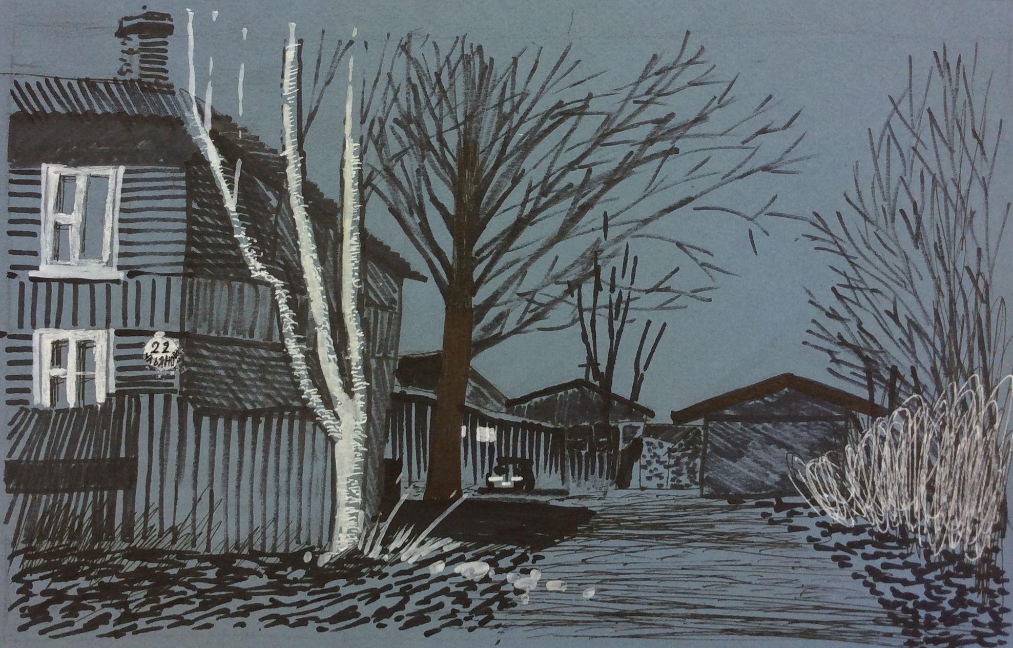 «Деревья у дома», Волкова Эрика (12 лет), маркер, преп. Е. Ю. Тарасова