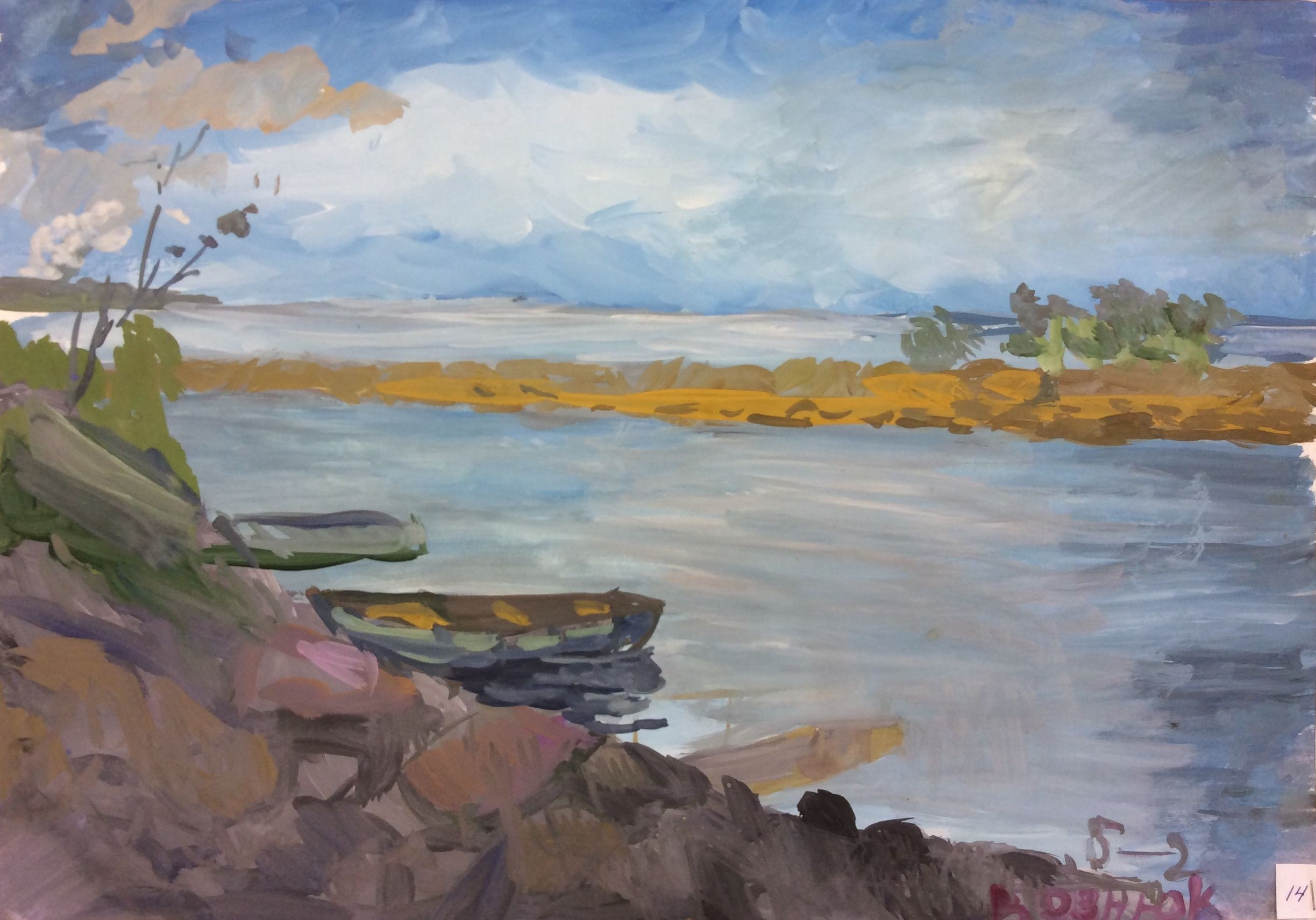 «Лодки на канале», Вознюк Александра (13 лет), гуашь, преп. В. А. Саржин