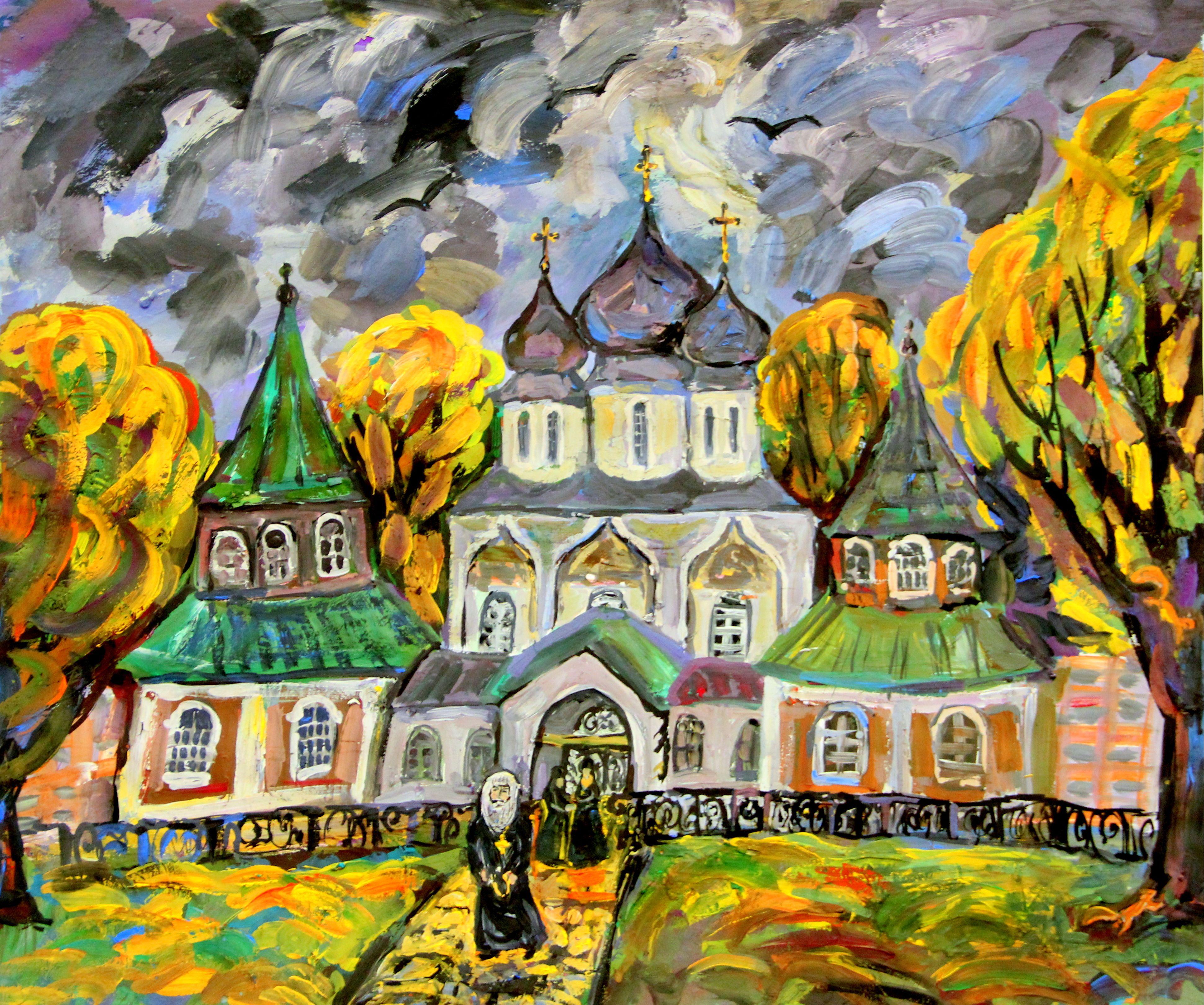 """""""Тихвинский монастырь"""", Курилин Максим (9 лет), живопись, преп. Мельникова Н. А."""