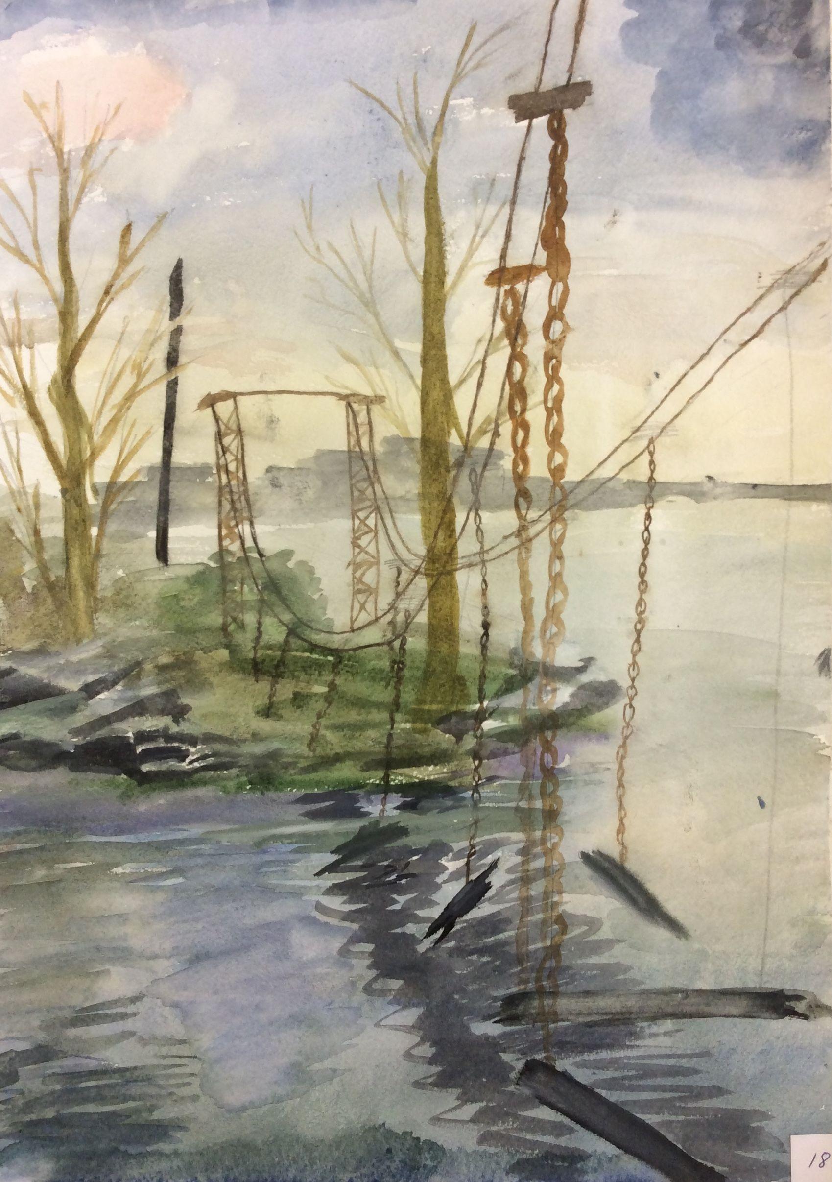 «Висячий мост», Журковский Арсений (13 лет), акварель, преп. В. А. Саржин